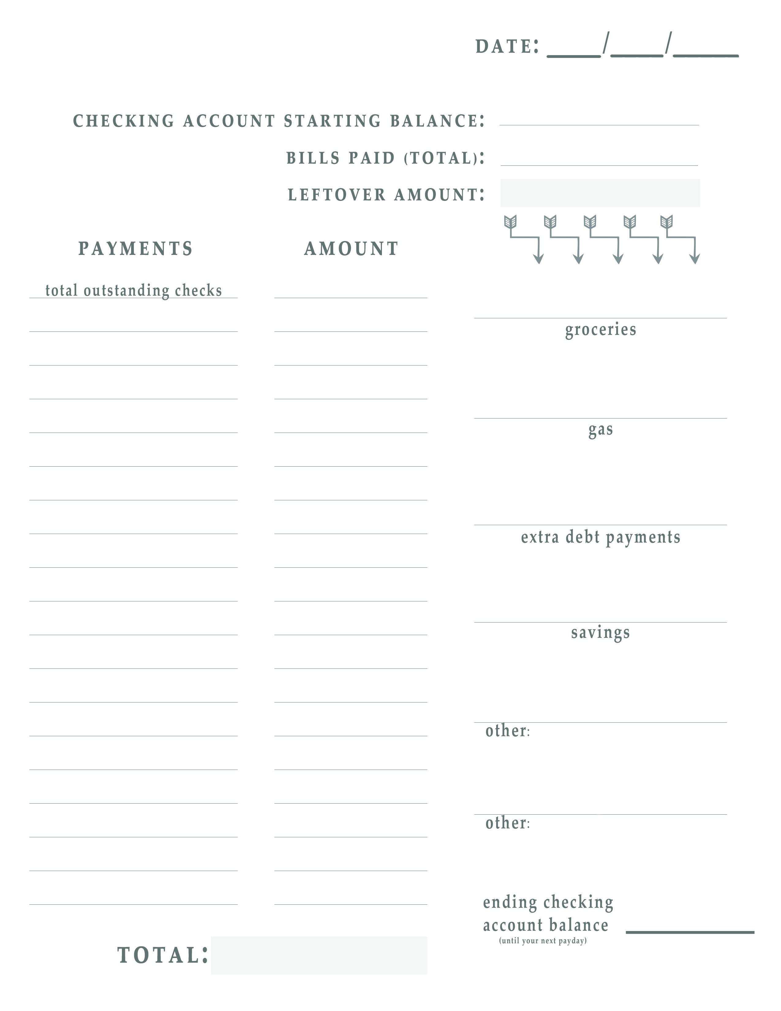 Bill Pay Worksheet Free Printable throughout Bill Pay Worksheet Printable