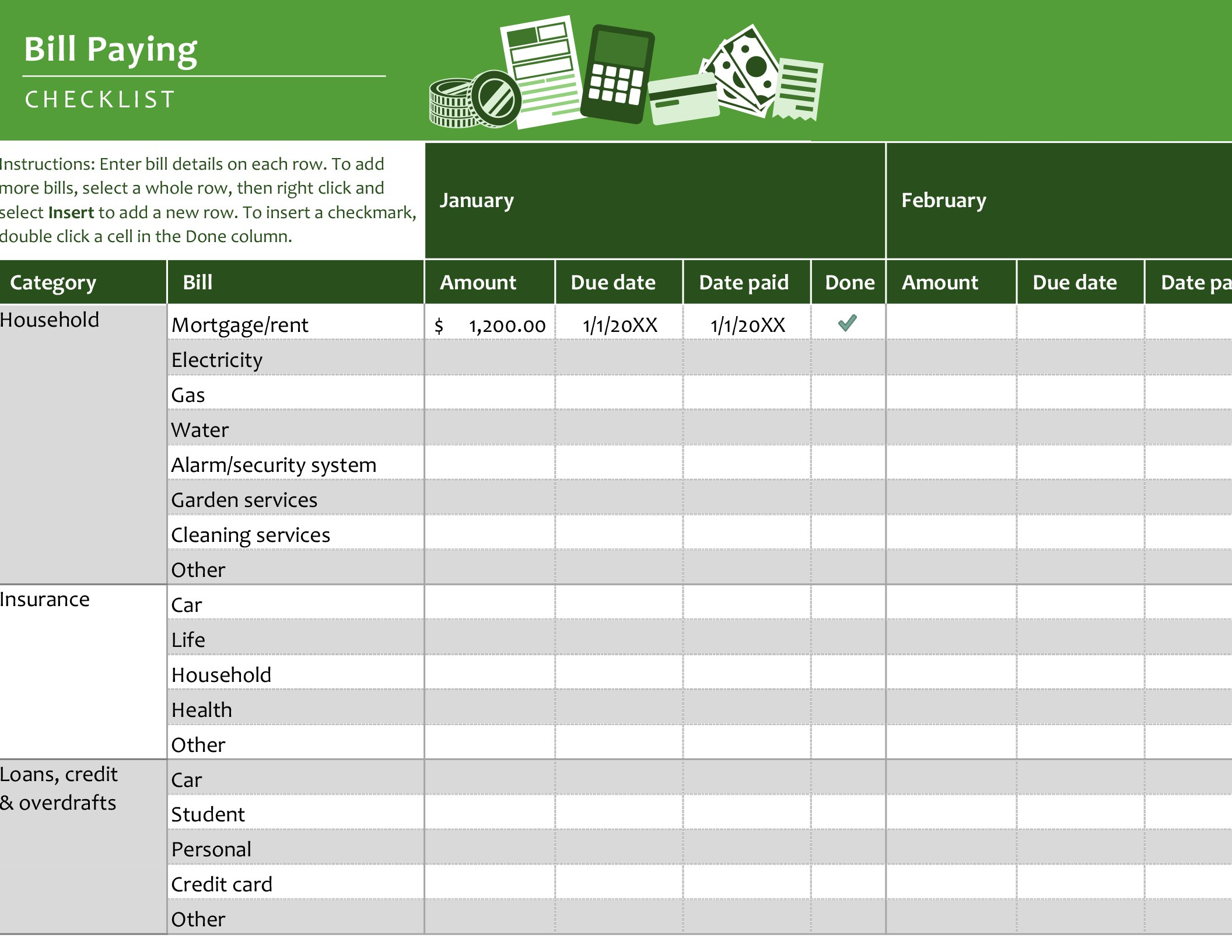 Bill Paying Checklist for Free Printable Bill Payment Schedule