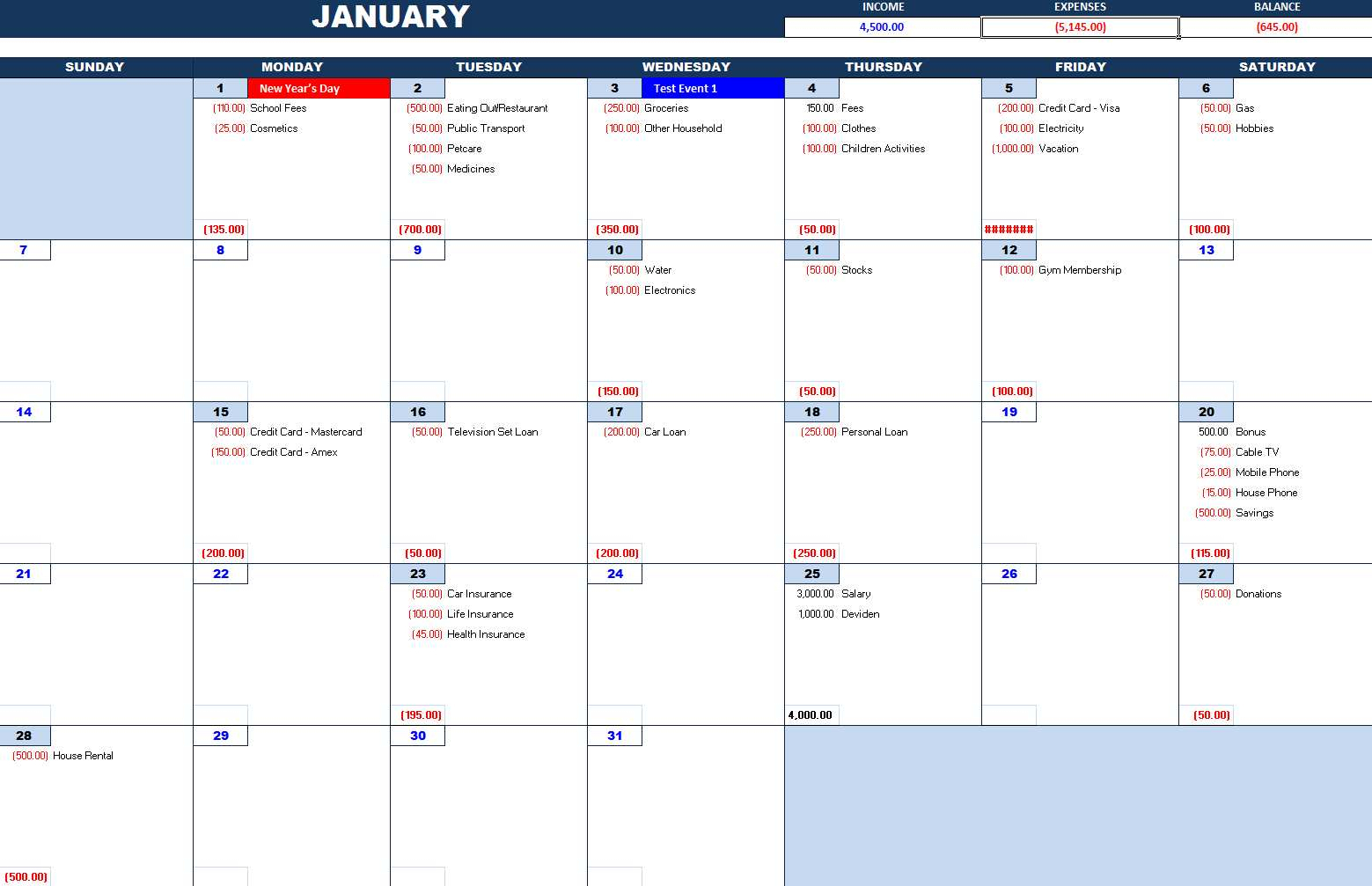 Bill Payment Calendar – Excel Calendars regarding Bill Pay Calendar Organizer