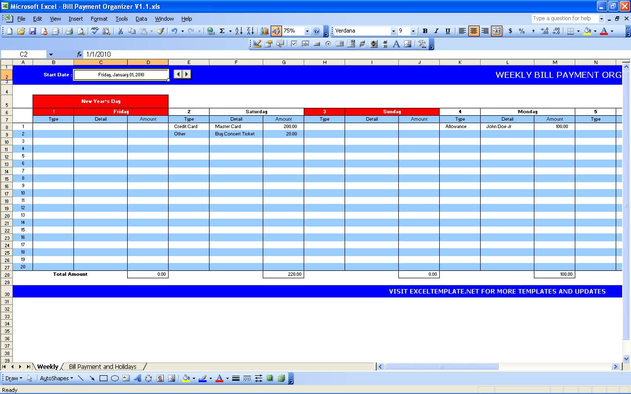 Bill Payment Calendar » Exceltemplate throughout Bill Pay Calendar Organizer