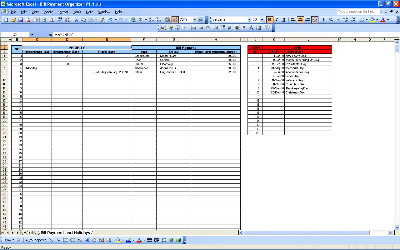 Bill Payment Calendar » Exceltemplate within Monthly Bill Organizer Template Excel