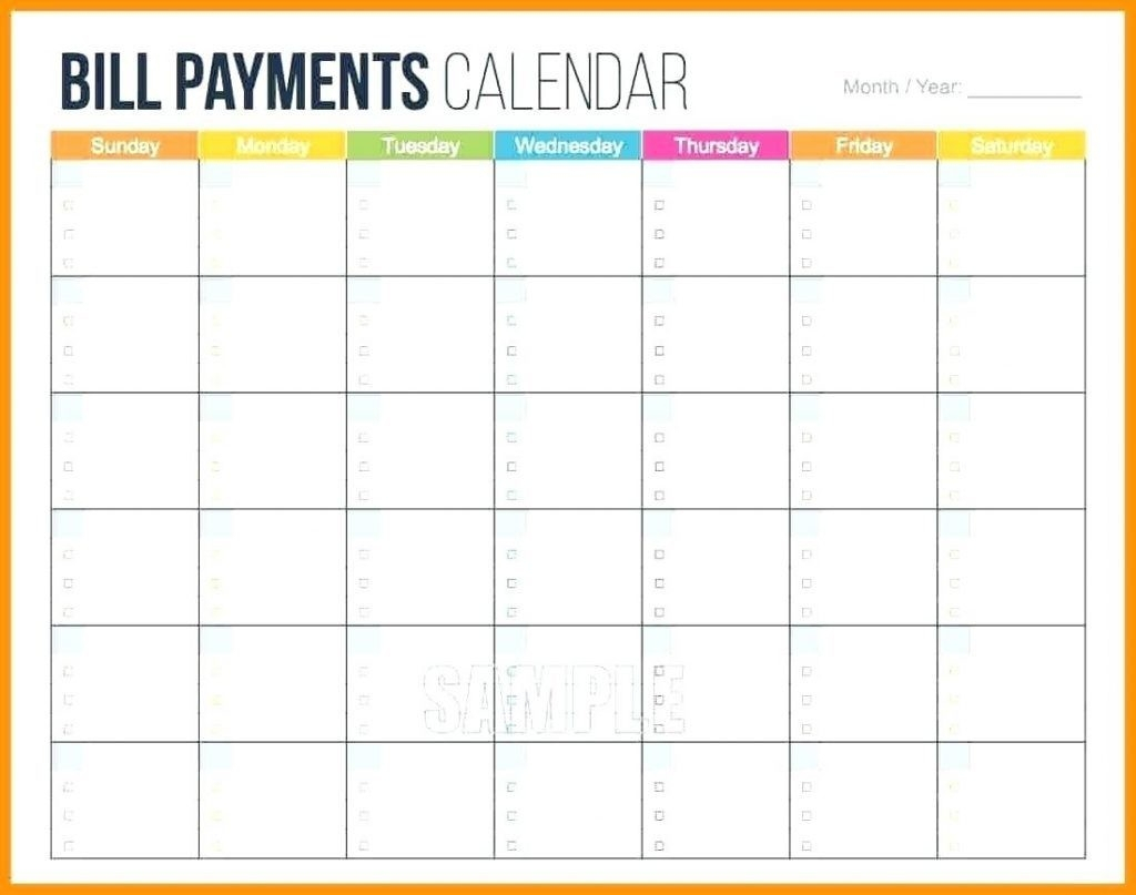 Bill Payment Calendar Template Printable | Example Calendar inside Bill Pay Calendar Printable