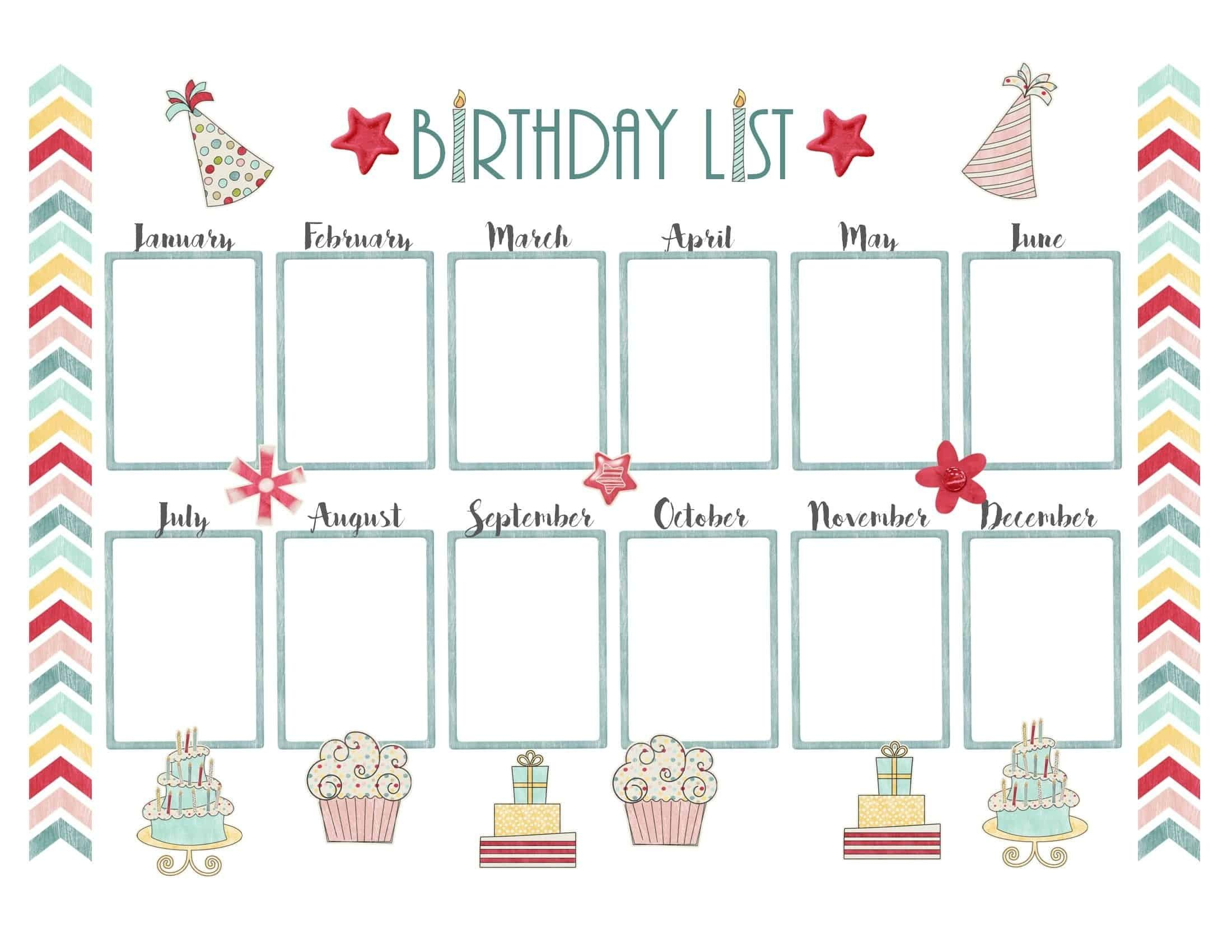 Birthday Calendar Maker Template | Birthday Calender, Weekly pertaining to Blank Birthday Calendar Template