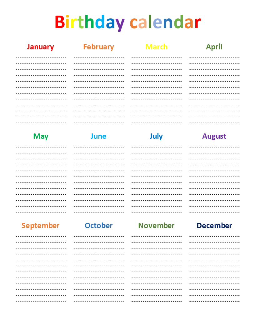 Birthday Calendar Rainbow Color Chart | Templates At within Blank Birthday Calendar Template