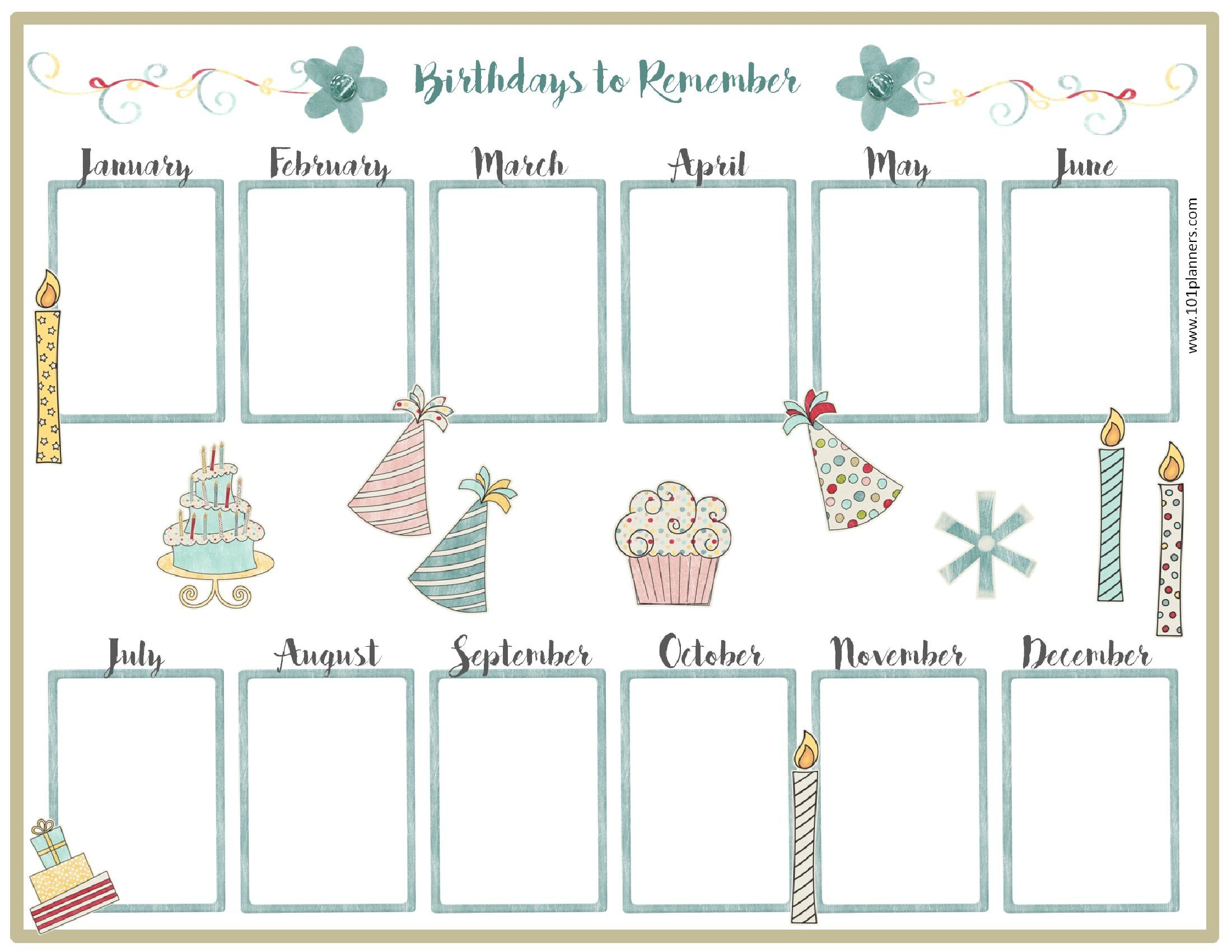 Birthday Calendar Template | Birthday Calender, Birthday with Blank Birthday Calendar Template