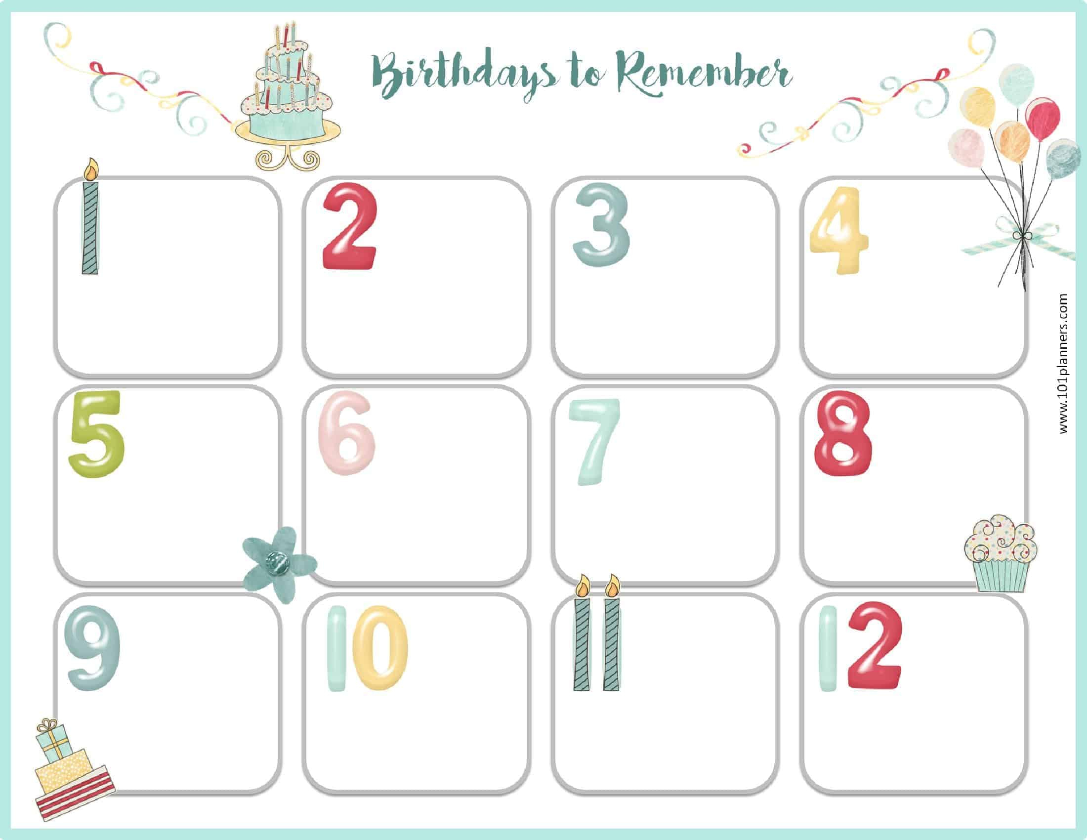 Birthday Calendar Template for Monthly Birthday Calendar Template