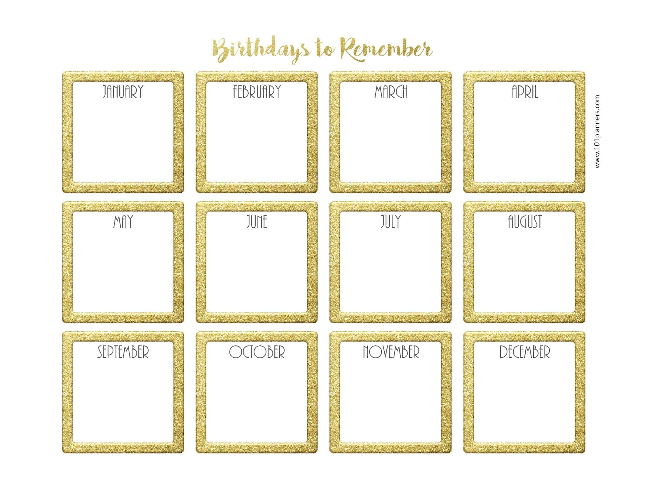 Birthday Calendar Template pertaining to Blank Birthday Calendar Template