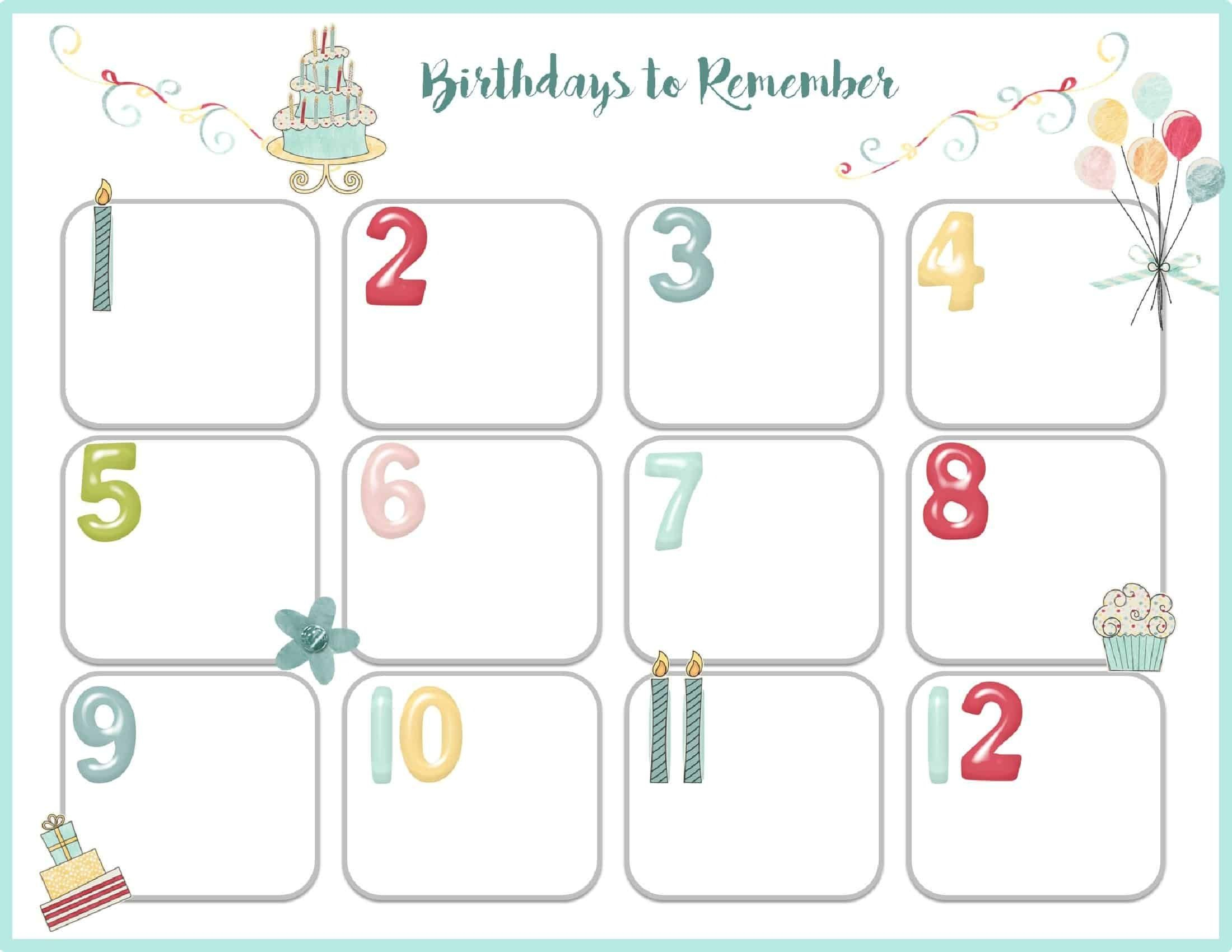 Birthday Calendar Template Printable Events | Birthday within Blank Birthday Calendar Template