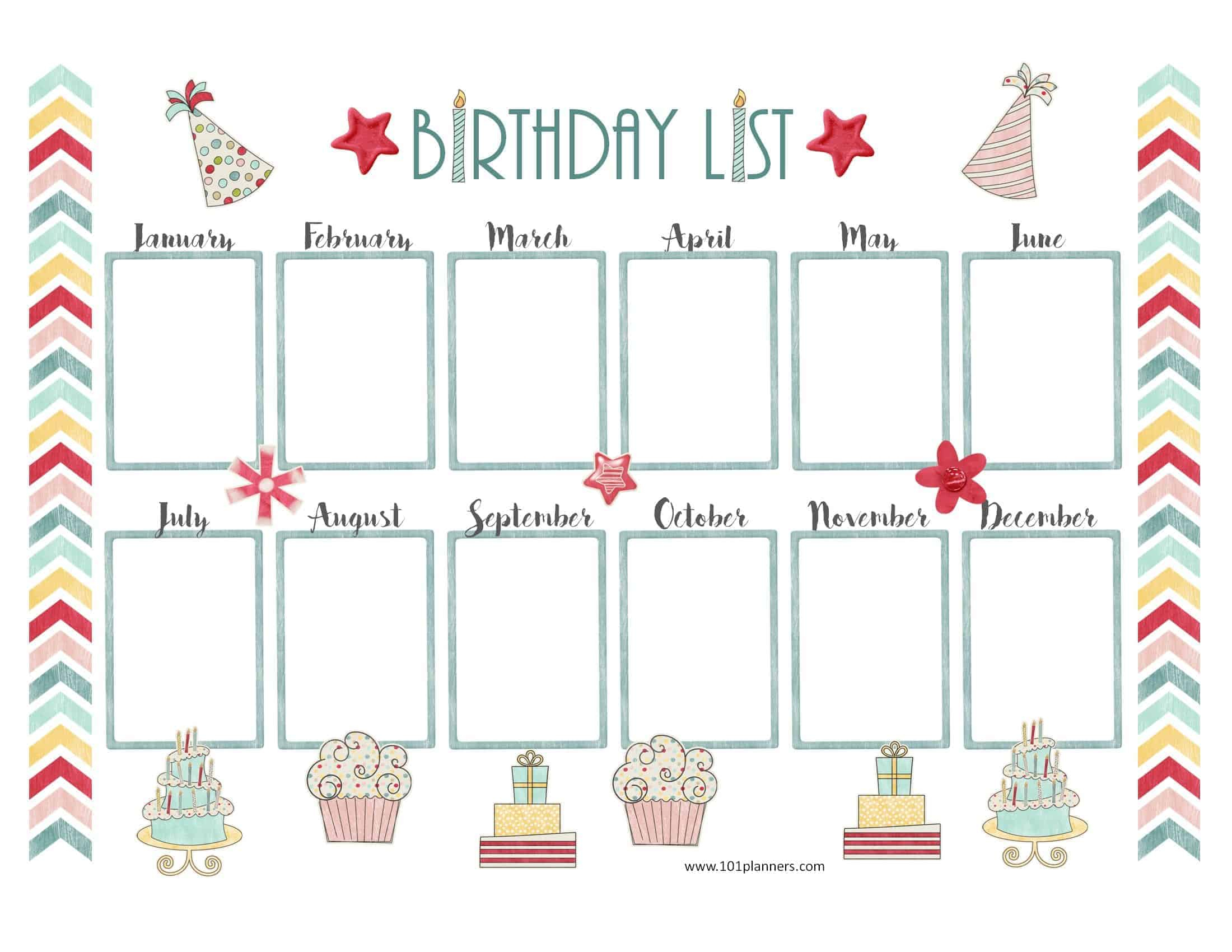 Birthday Calendar Template regarding Free Printable Birthday Chart