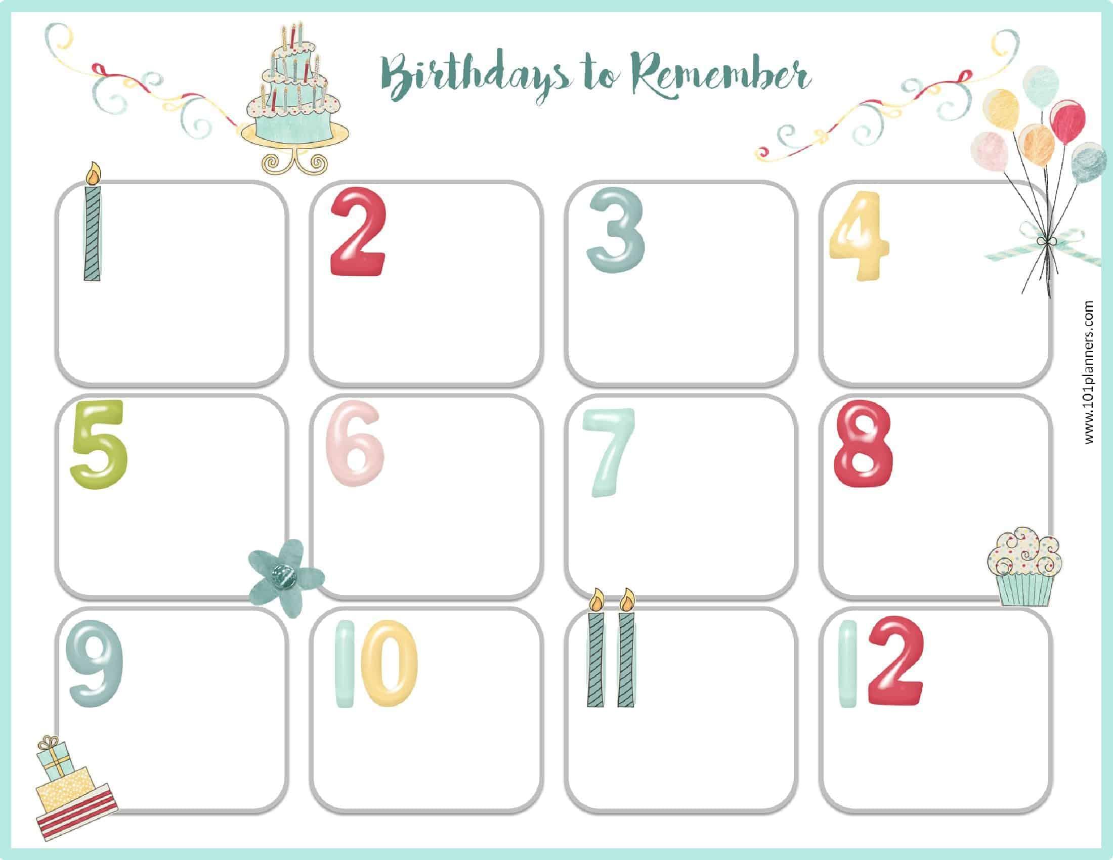 Birthday Calendar Template within Classroom Birthday Calendar Template