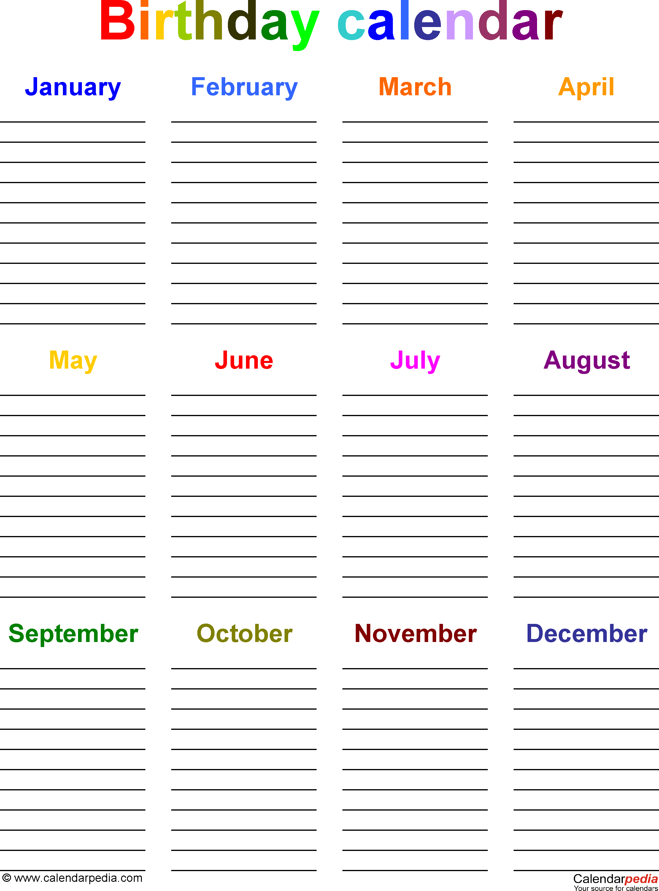 Birthday Calendars  Free Printable Microsoft Word Templates with Free Printable Birthday Chart