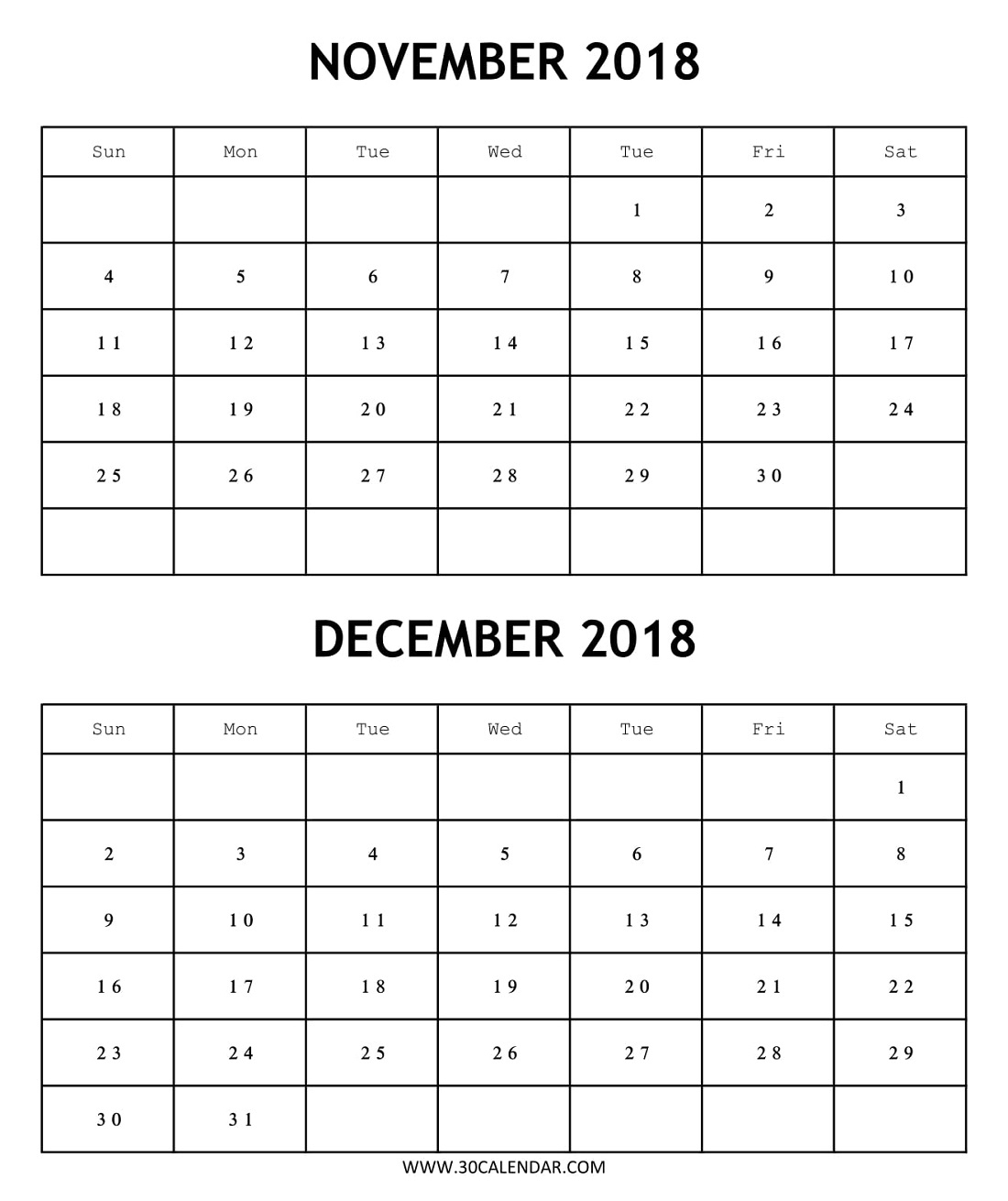 Blank 2018 Calendar November December Template | 2 Month in Blank Two Month Calendar