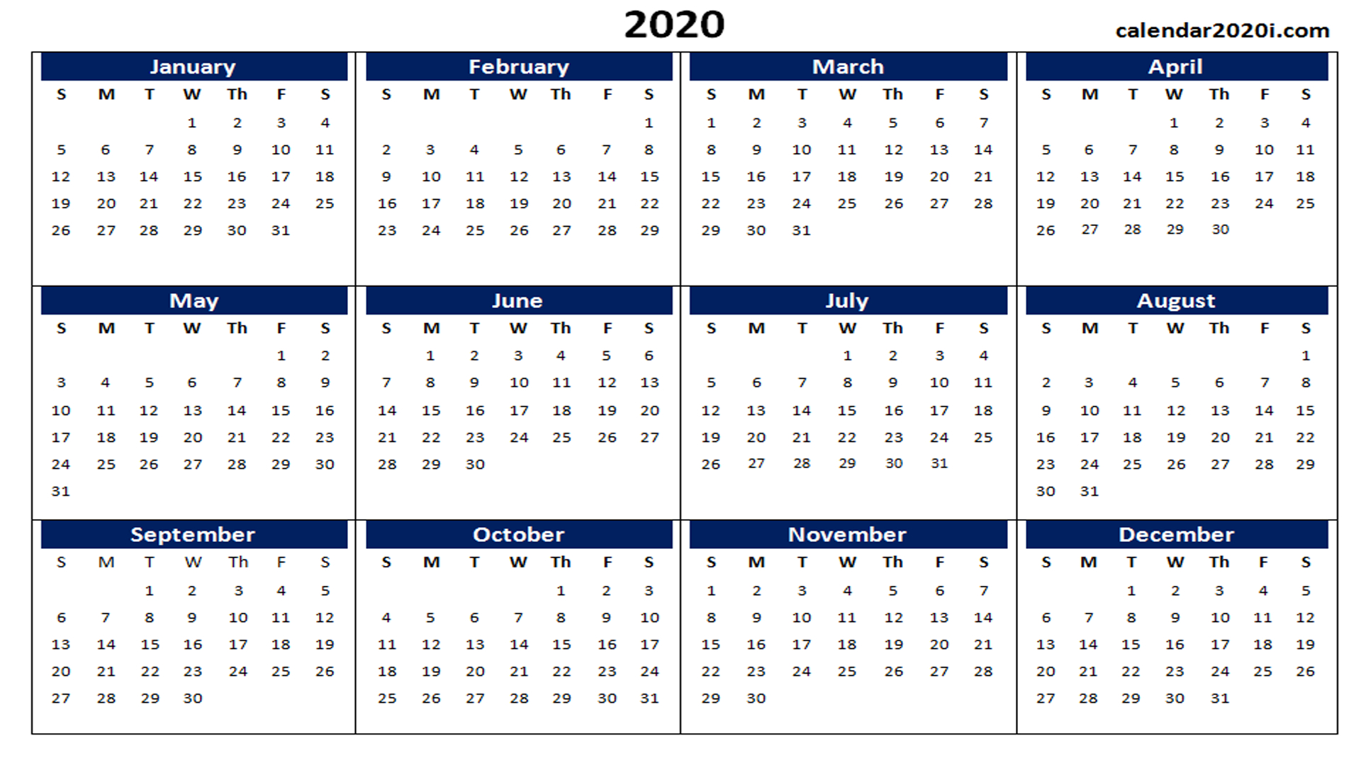 Blank 2020 Calendar Printable Templates | Calendar 2020 intended for Word Calendar Template 2020