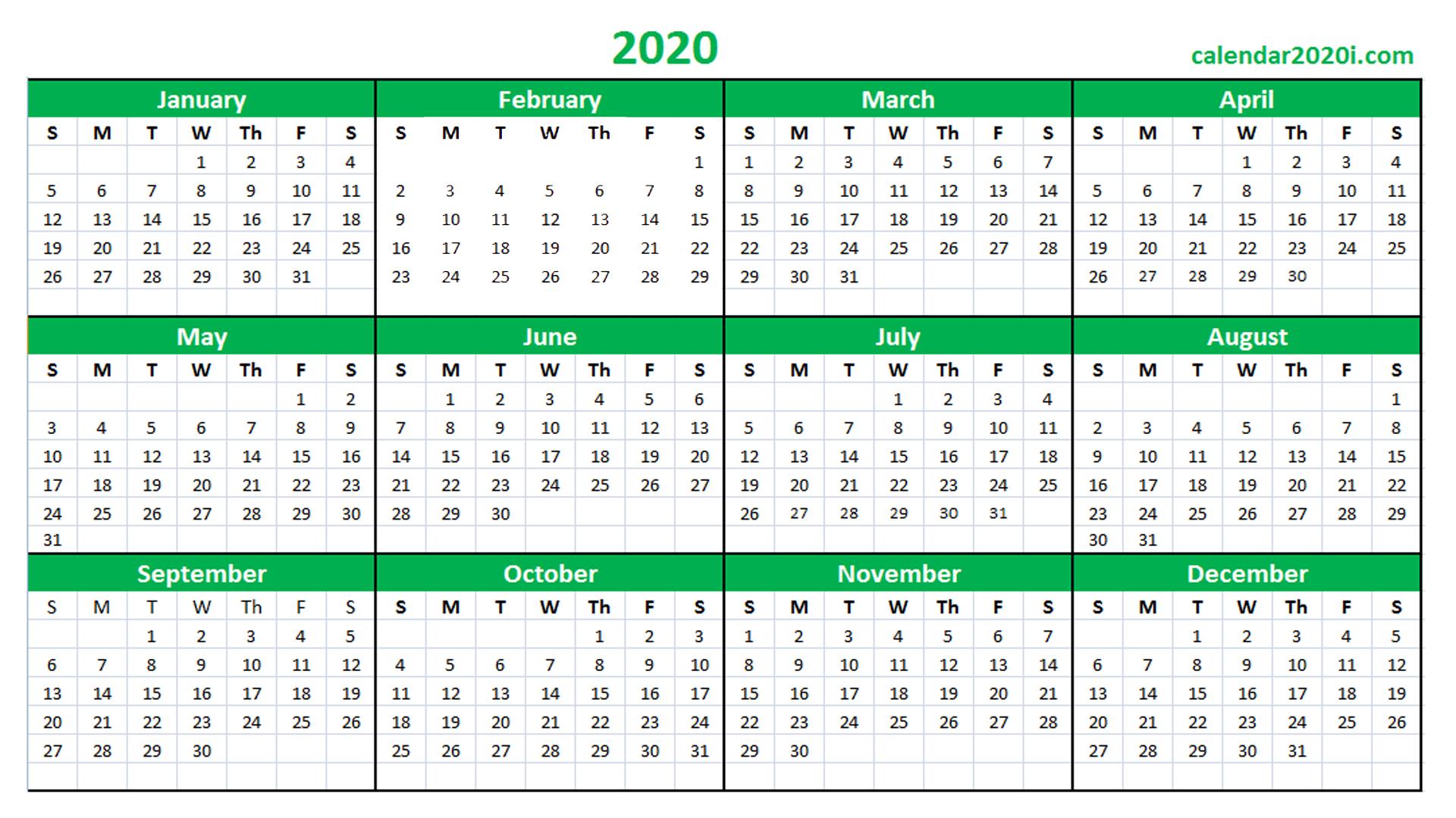 Blank 2020 Calendar Printable Templates | Calendar 2020 pertaining to 2020 Excel Calendar