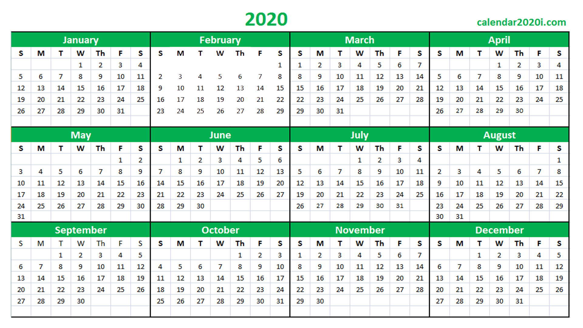 Blank 2020 Calendar Printable Templates | Calendar 2020 with 2020 Excel Calender