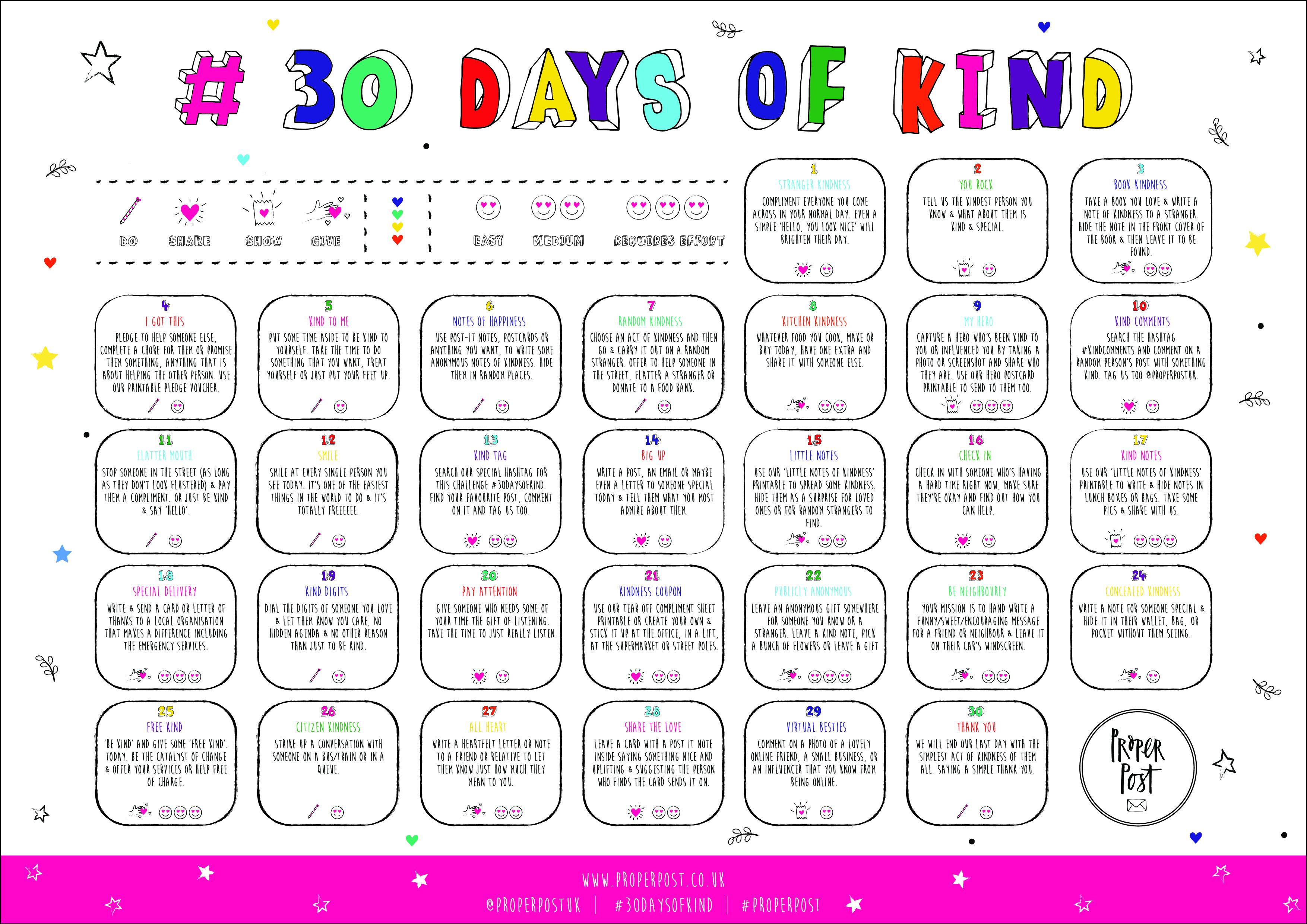 Blank 30 Day Challenge Calendar throughout Kindness Calendar Template