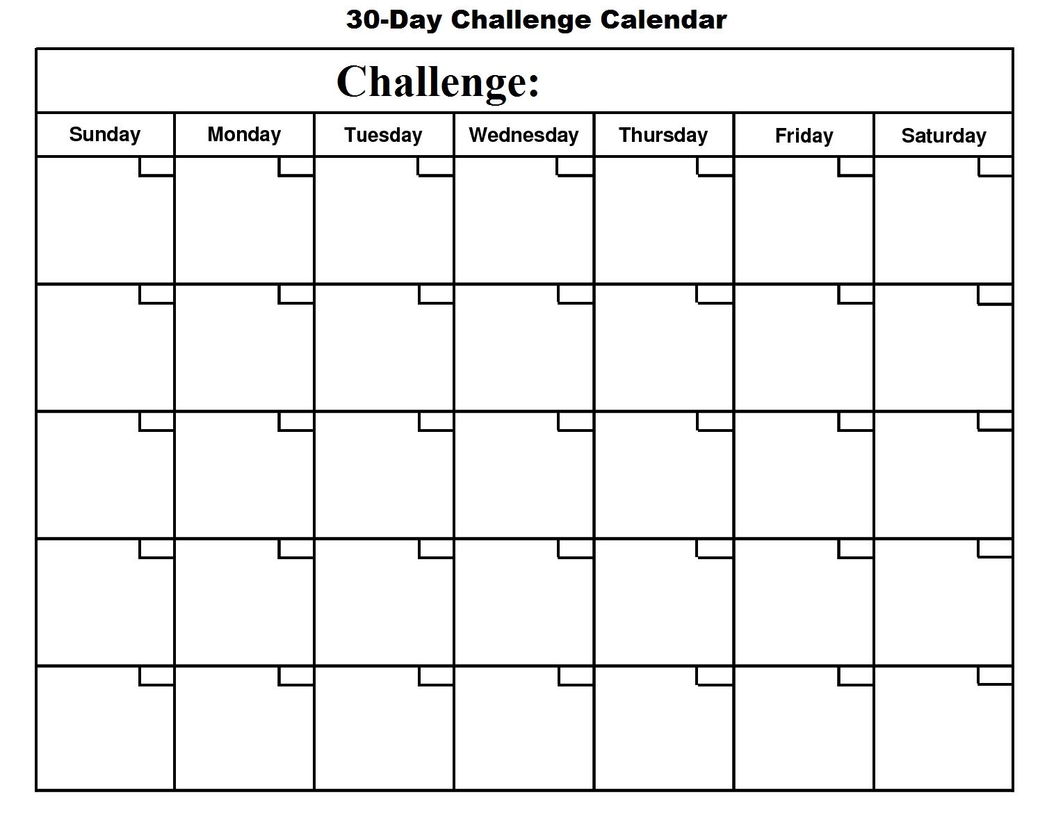 Blank 30 Day Month Calendar | Example Calendar Printable within 30 Day Blank Calendar