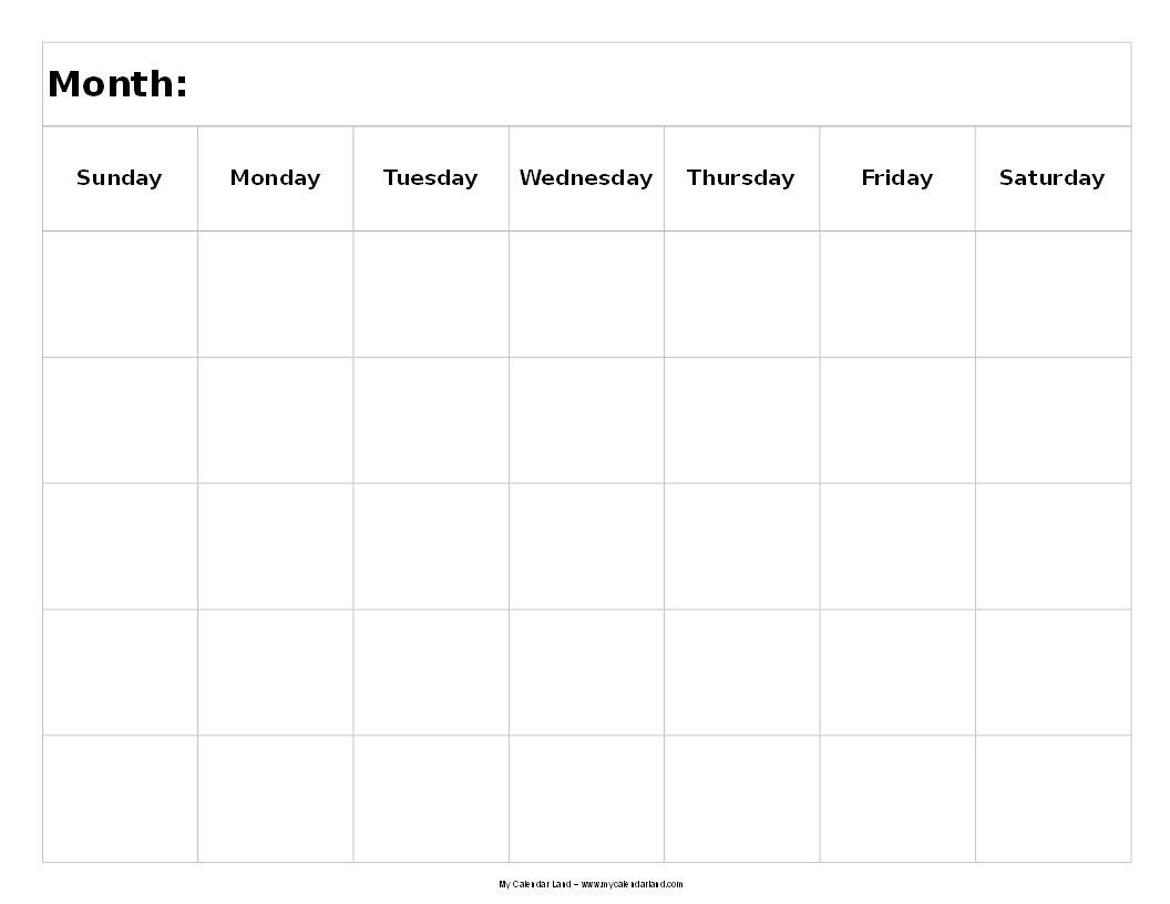 Blank 5 Day Calendar Printable | Example Calendar Printable throughout Free Printable 5 Day Calendar