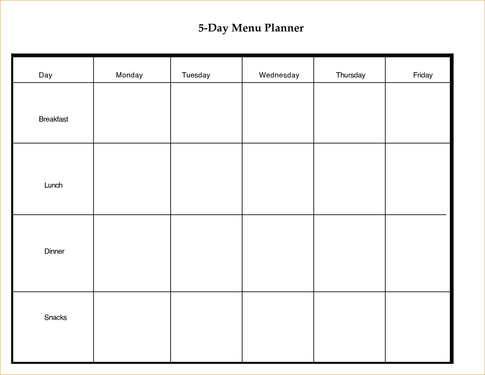 Blank 5 Day Week Calendar | Blank Calendar Template Dowload throughout 5 Day Weekly Planner Template
