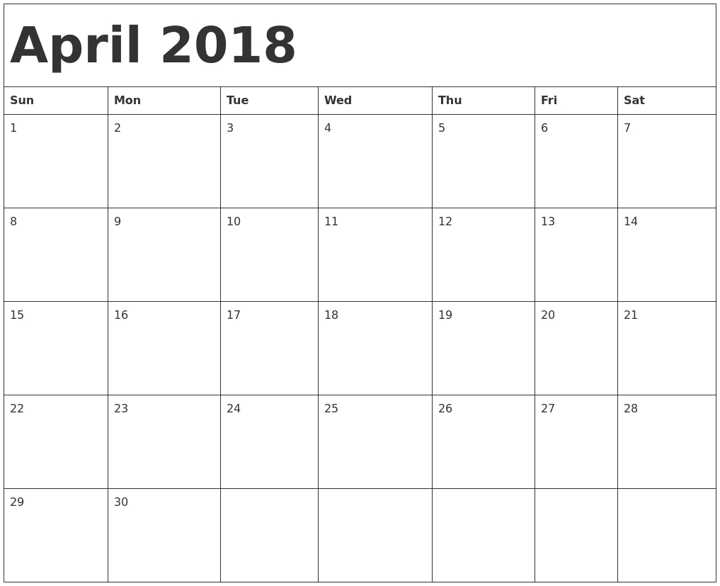 Blank April 2018 Calendar Document  Free Printable Calendar with regard to Blank Calendar Starting With Monday