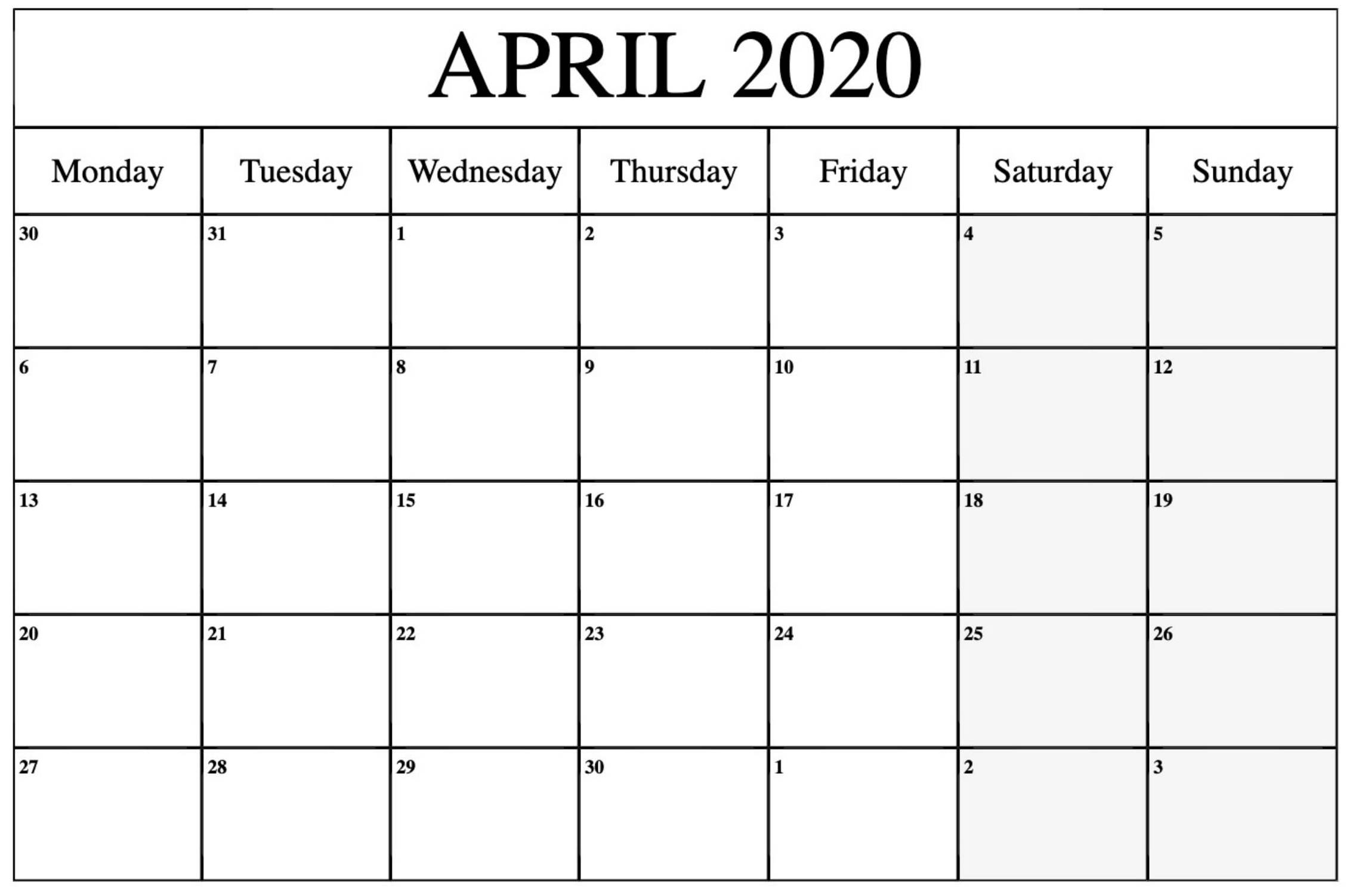 Blank April 2020 Calendar Printable With Notes Pdf  Set inside Free Printable April 2020 Calendar