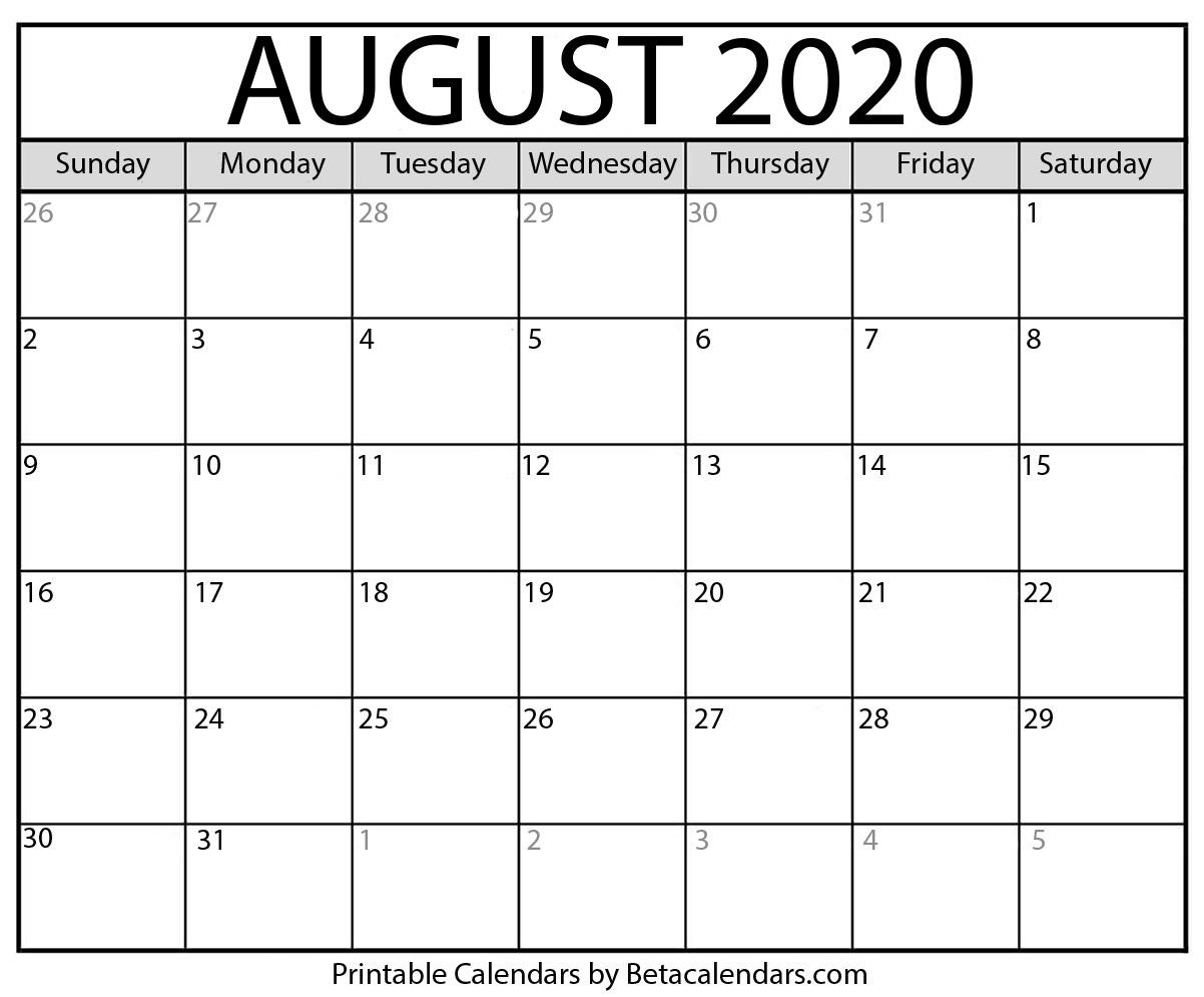 Blank August 2020 Calendar Printable – Beta Calendars intended for August 2020 Calendar Printable