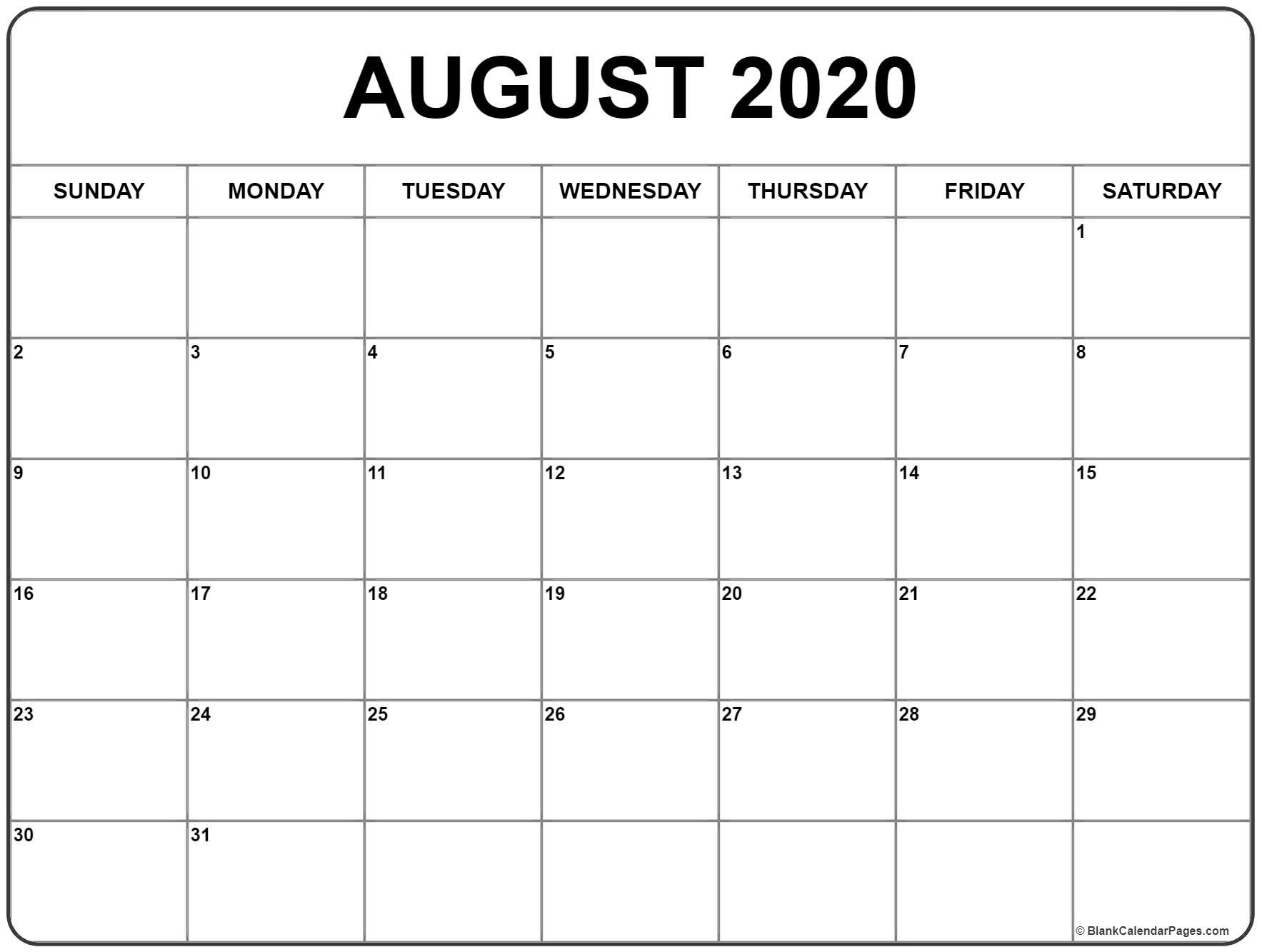 Blank August 2020 Calendar Printable | Example Calendar regarding July And August 2020 Calendar Printable