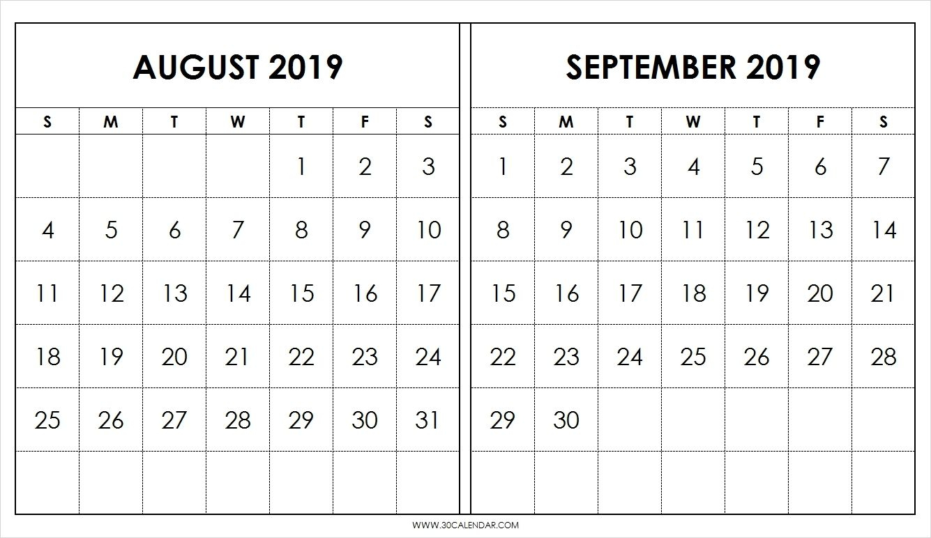 Blank August September Calendar 2019 Template 2 Month with Blank 2 Month Calendar