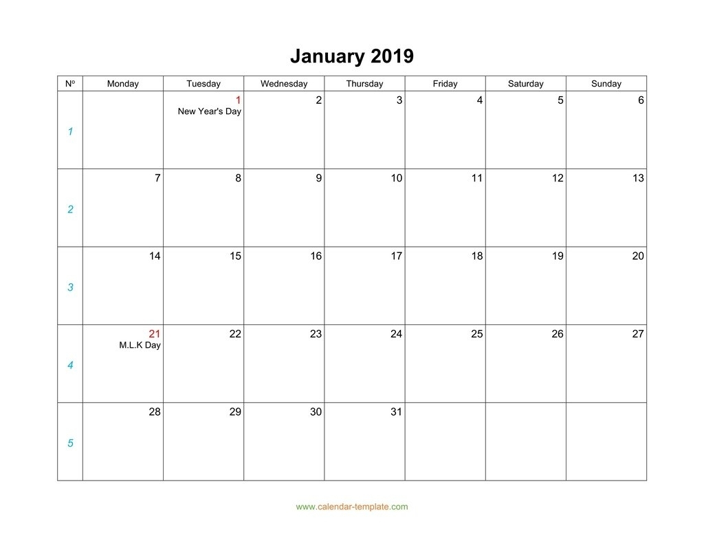 Blank Calendar 2019Monthly Calendars Start Monday – Monthly with regard to Blank Calendar Starting With Monday
