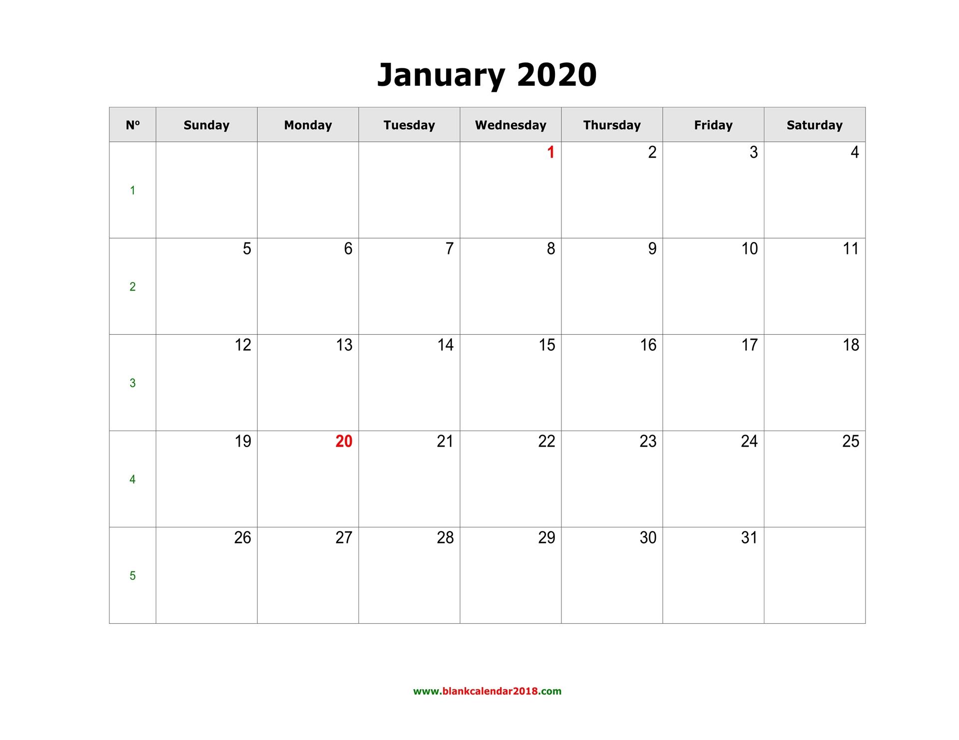 Blank Calendar 2020 inside 30 Day Calendar Blank