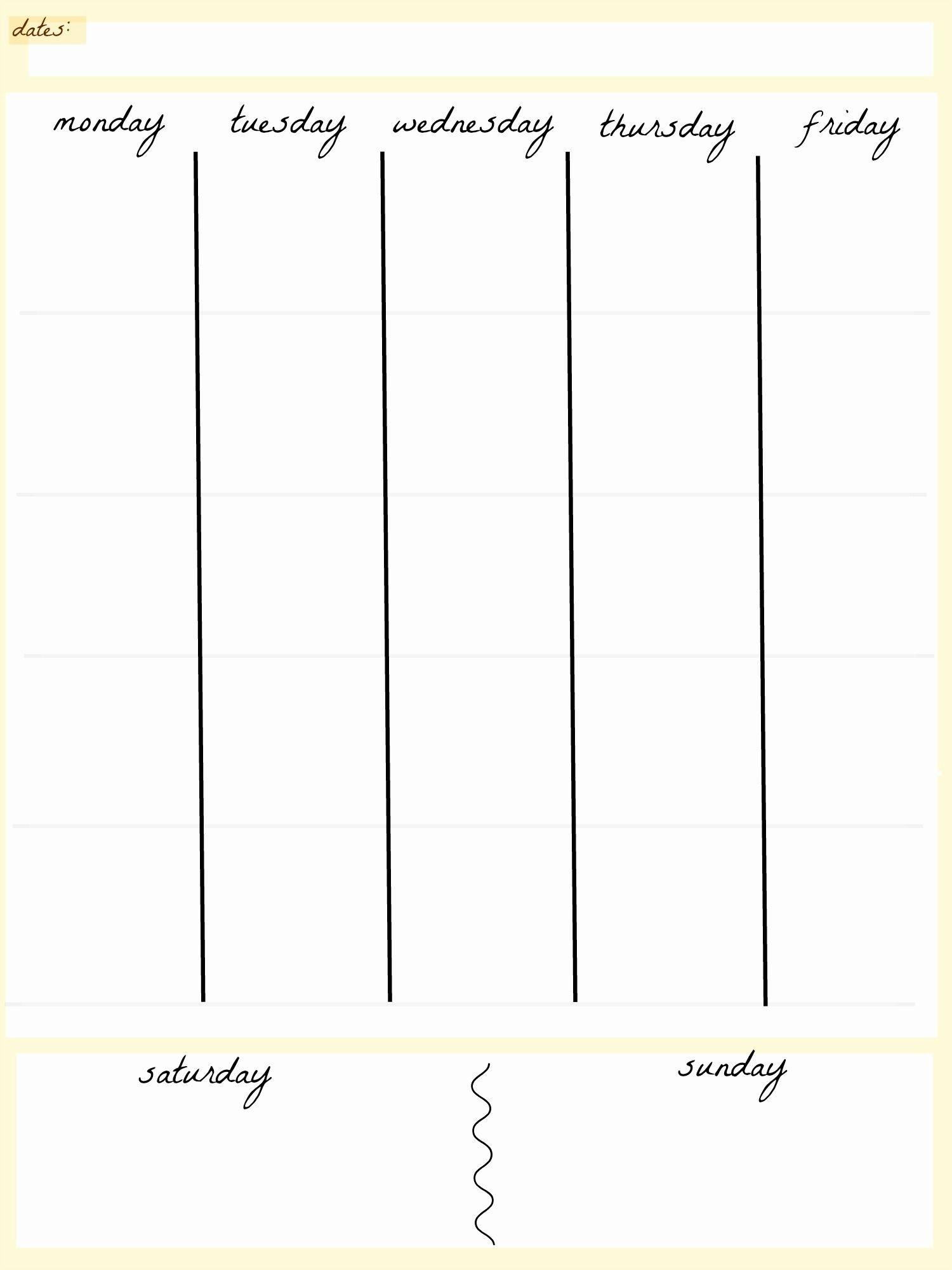Blank Calendar 5 Day Week | Blank Calendar Template Dowload pertaining to Printable Blank Weekly Calendar
