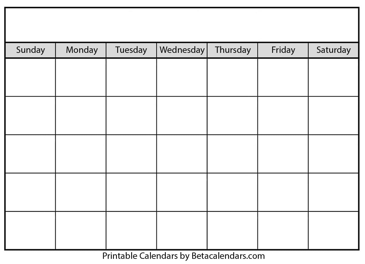 Blank Calendar  Beta Calendars for Empty Printable Calendar