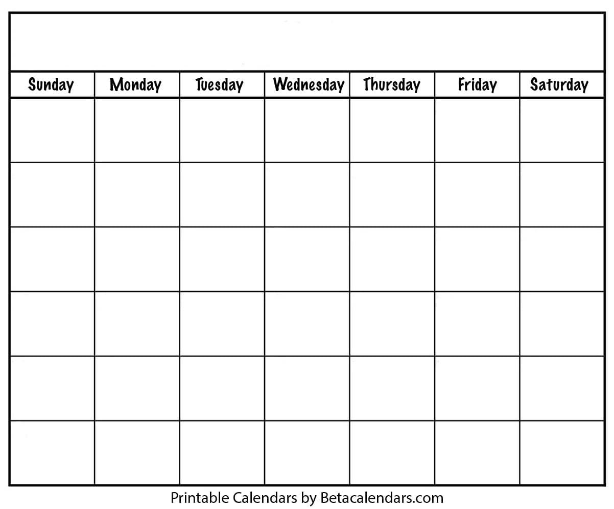 Blank Calendar  Beta Calendars throughout Empty Printable Calendar