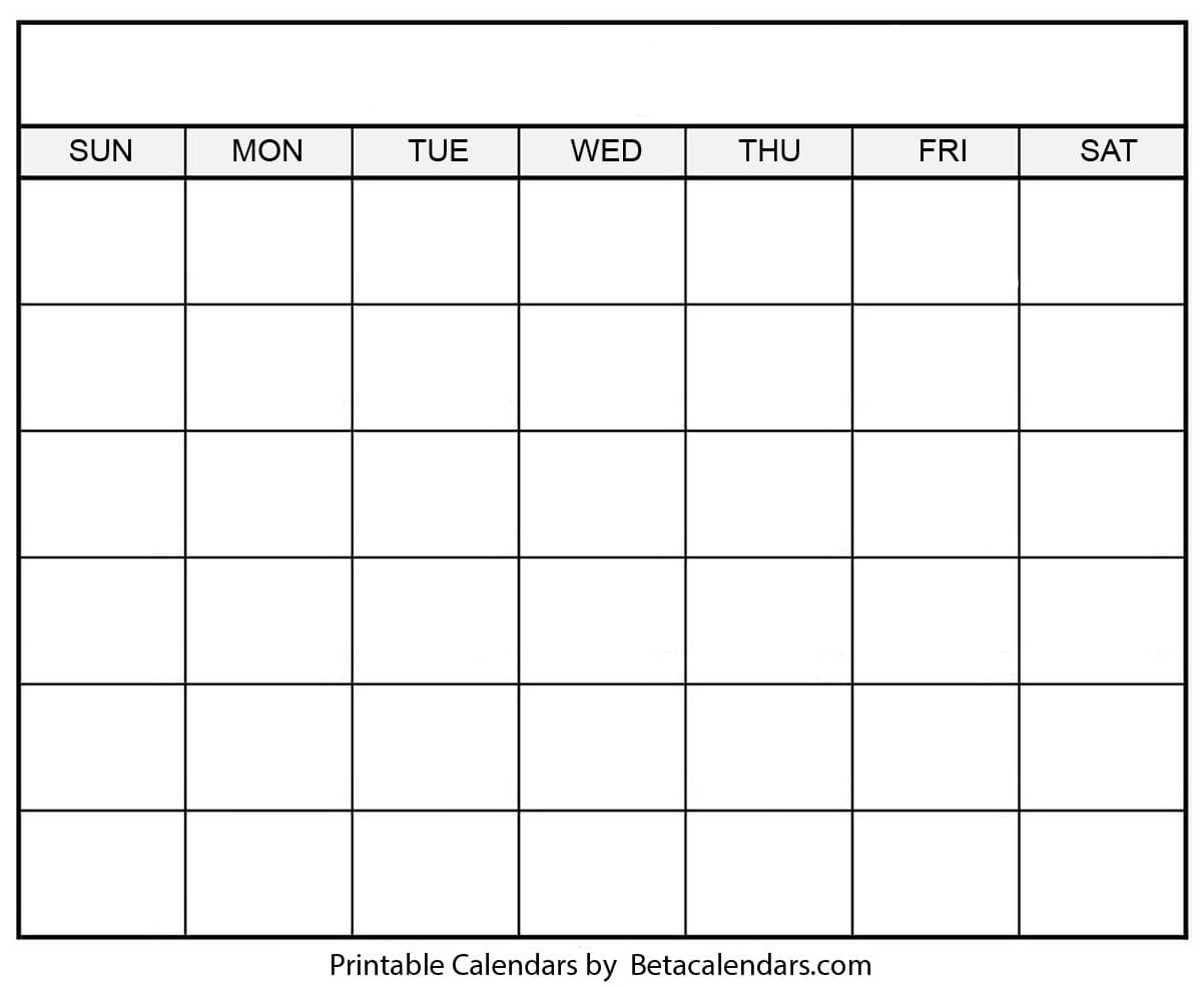 Blank Calendar  Beta Calendars within Blank 30 Day Calendar Template