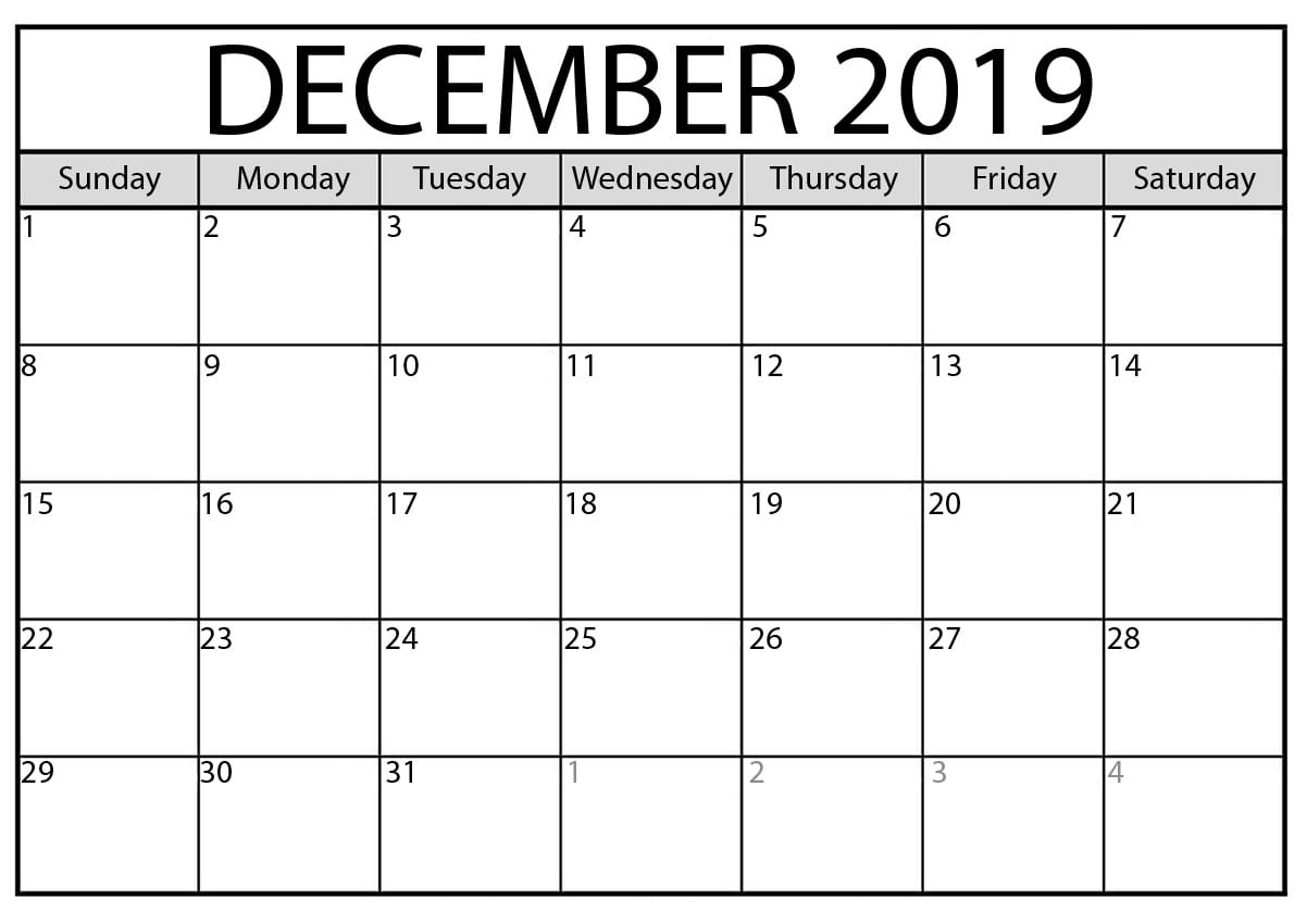 Blank Calendar December 2019 : For Exam Time Status | Free for Empty Printable Calendar