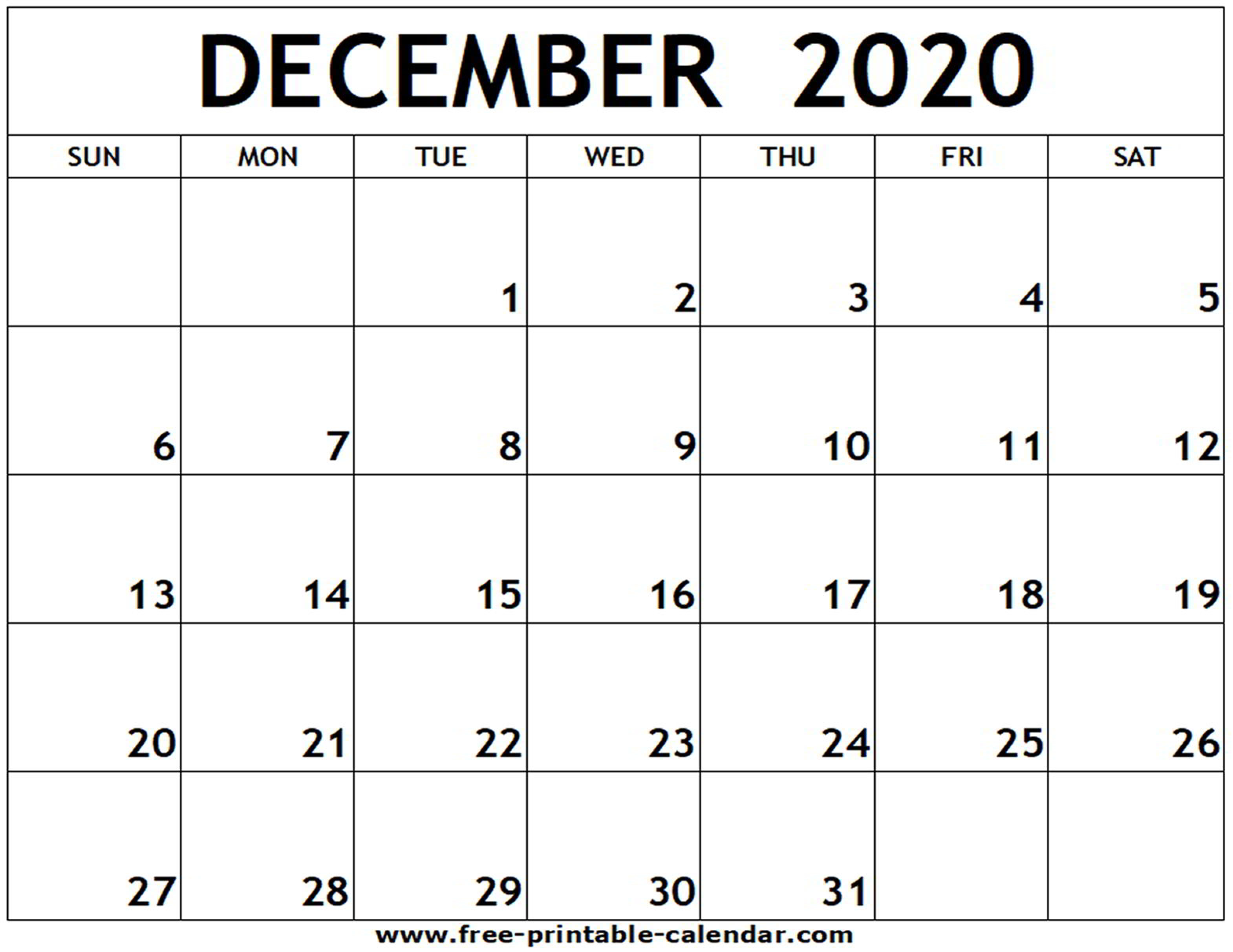 Blank Calendar December 2020  Bolan.horizonconsulting.co in Printable December Calender 2020