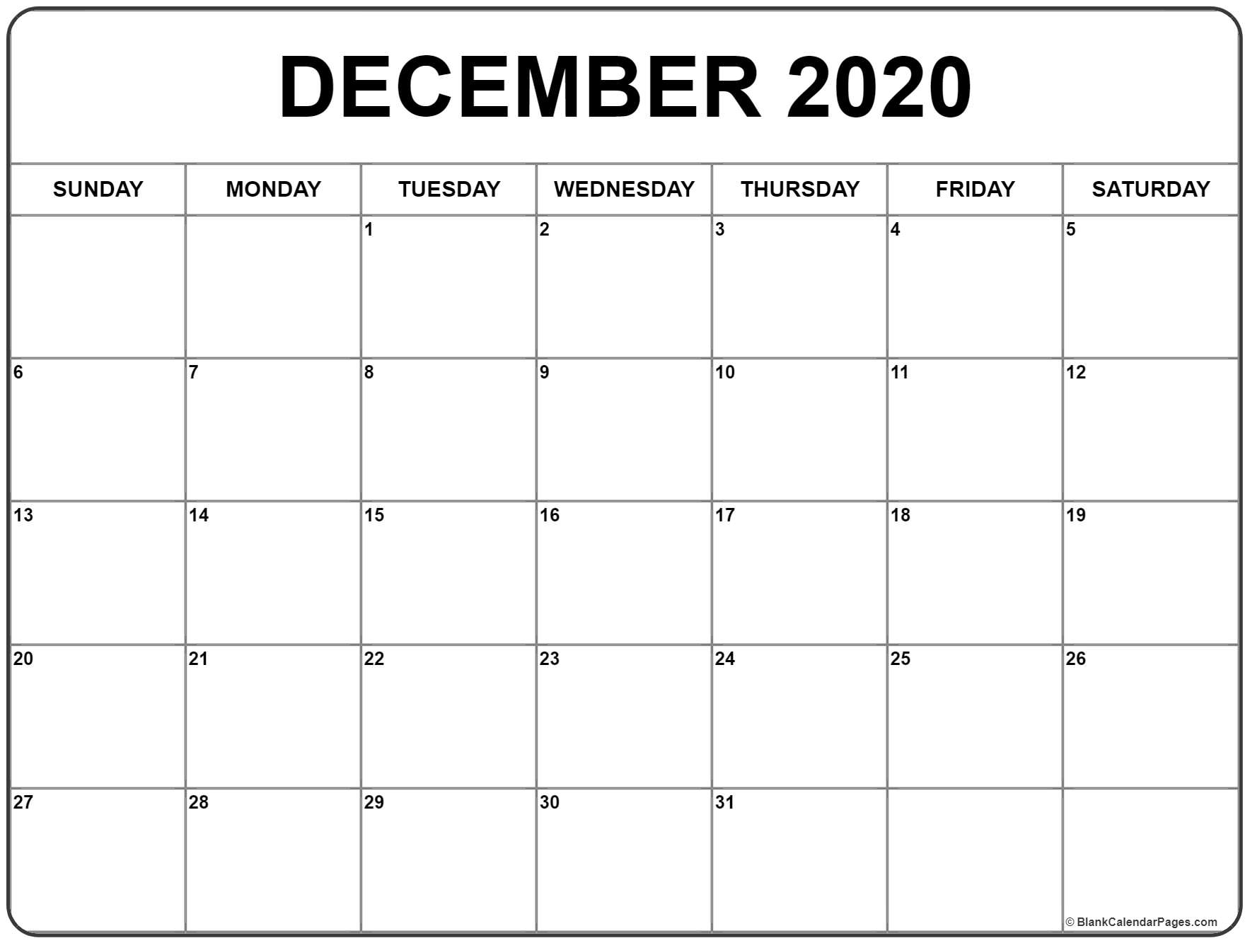 Blank Calendar December 2020  Bolan.horizonconsulting.co intended for Calendar 2020 December