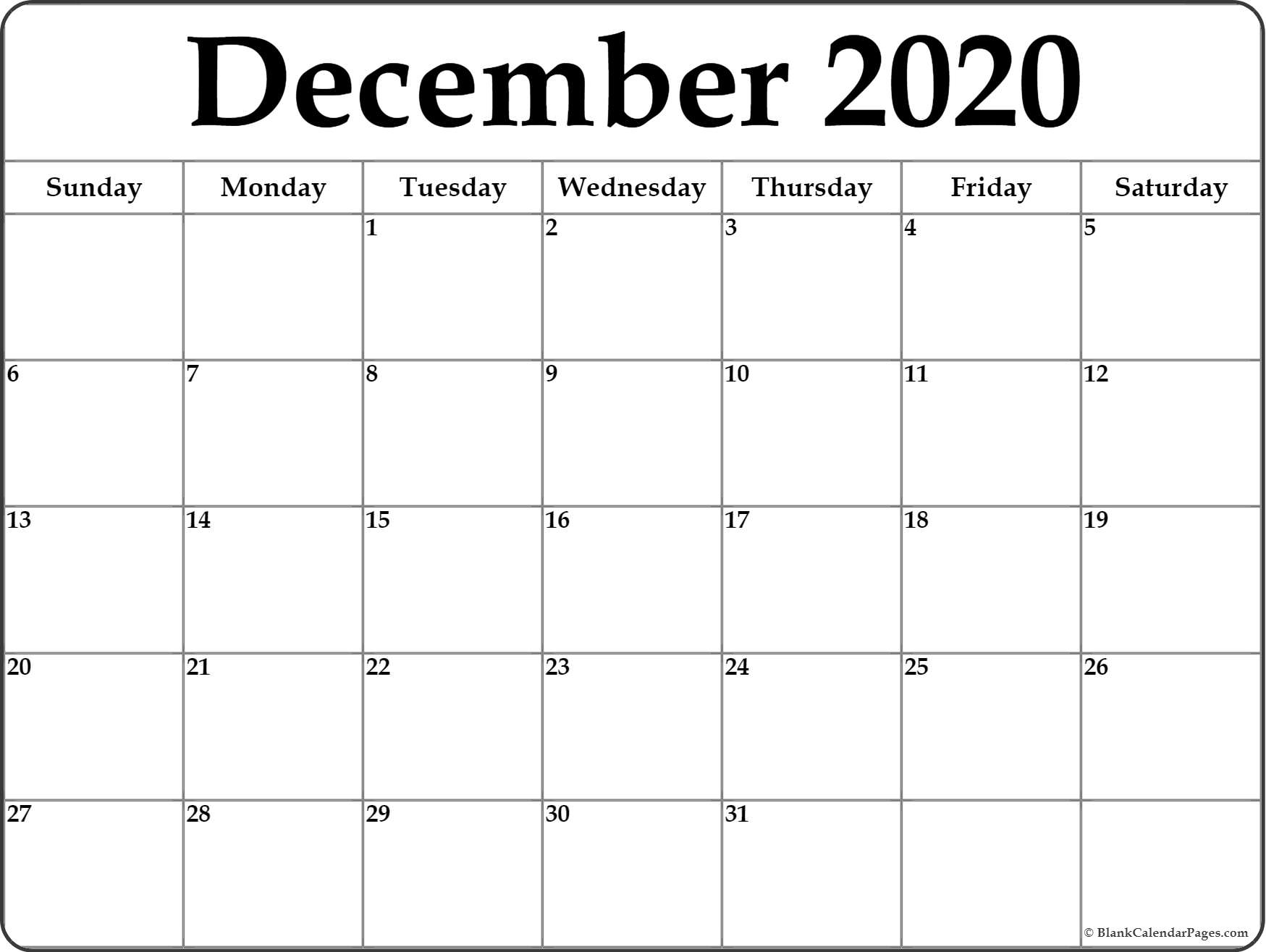 Blank Calendar December 2020  Bolan.horizonconsulting.co regarding Printable December Calender 2020
