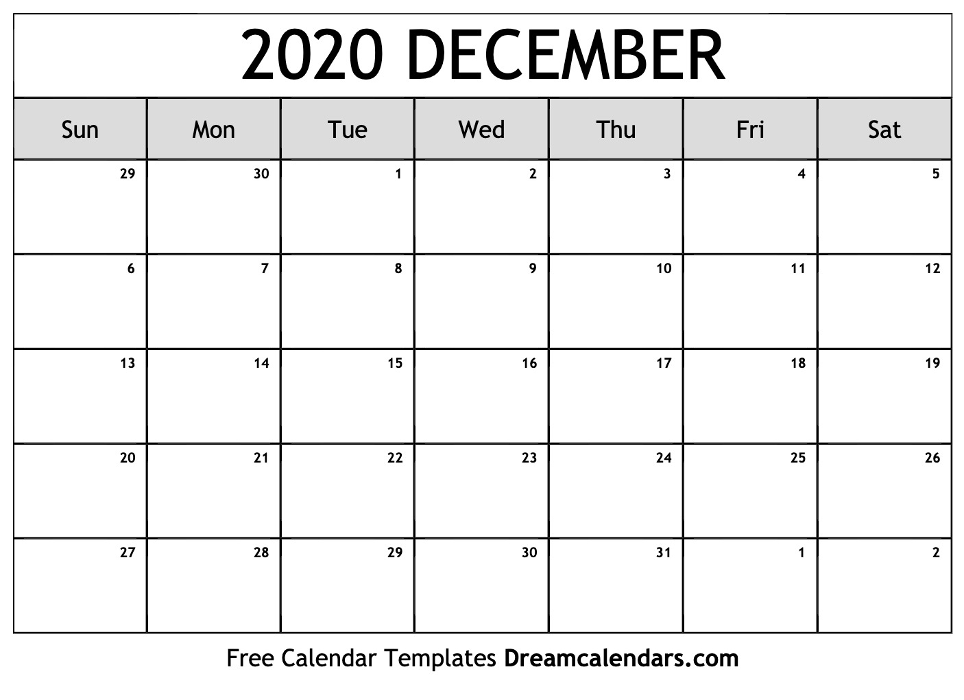 Blank Calendar December 2020  Bolan.horizonconsulting.co with Printable December Calender 2020