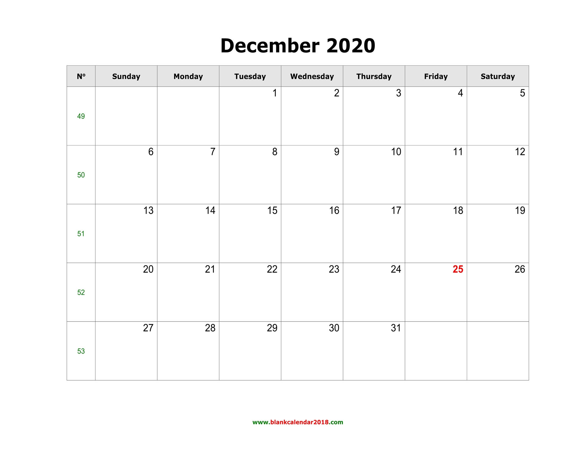 Blank Calendar For December 2020 throughout Writable December 2020 Calendar