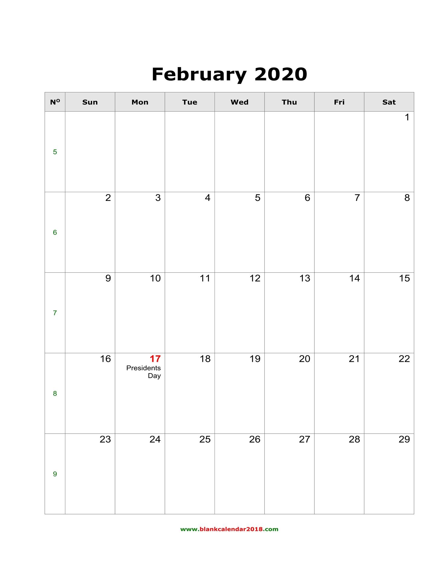 Blank Calendar For February 2020 inside Wincalendar January 2020