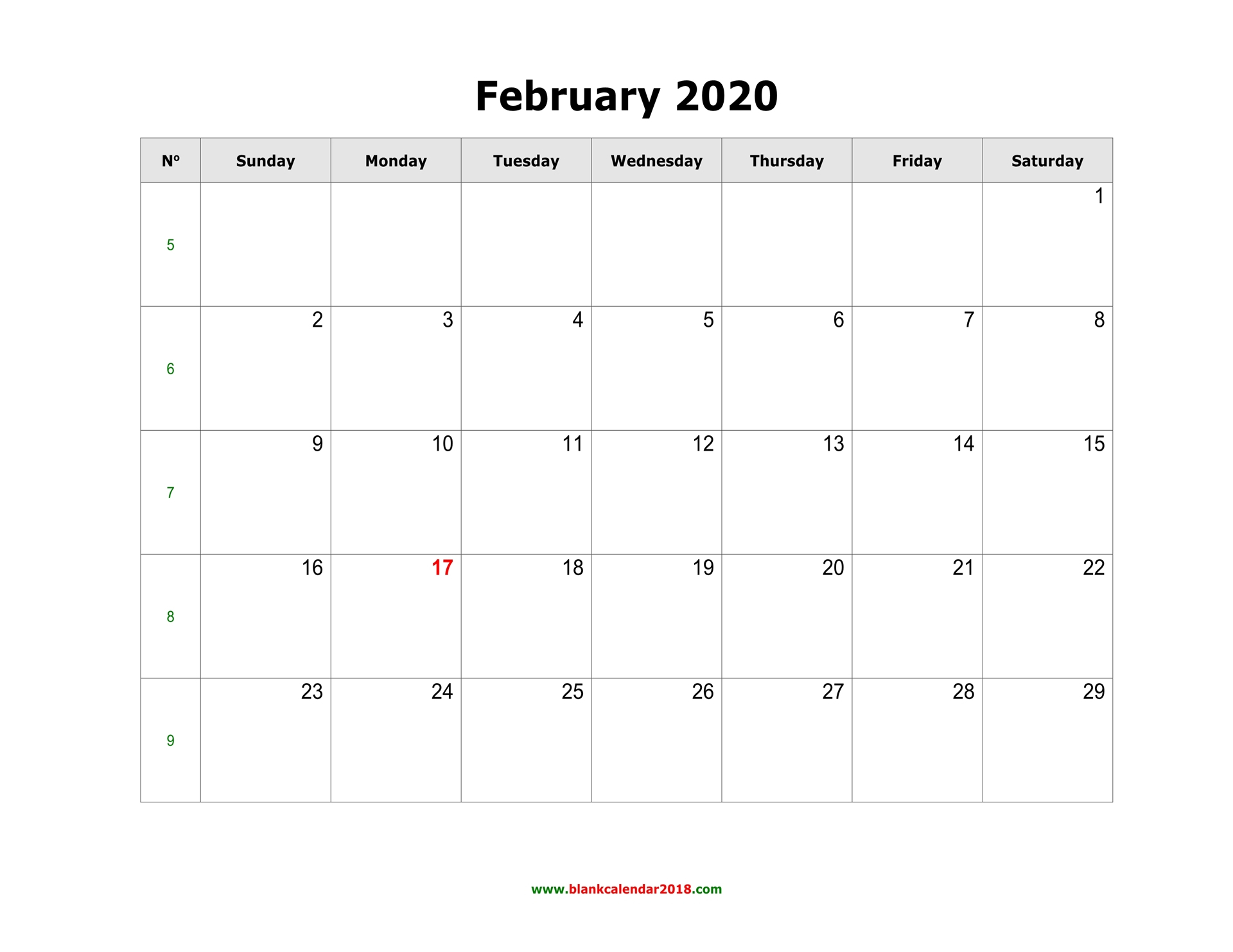 Blank Calendar For February 2020 within Wincalendar July 2020