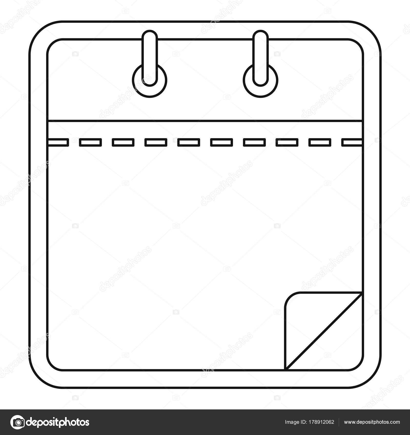 Blank Calendar Icon, Outline Style. — Stock Vector inside Blank Calendar Icon