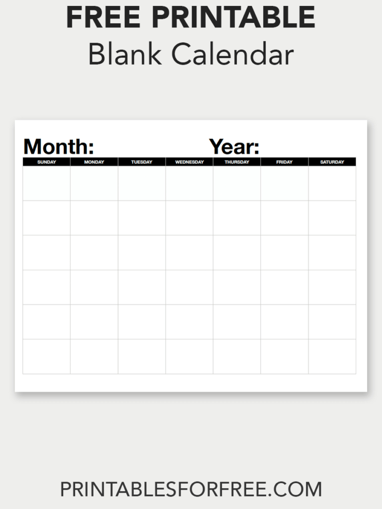 Blank Calendar (Monthly  Sunday Start | Blank Calendar pertaining to Fill In Blank Calendar