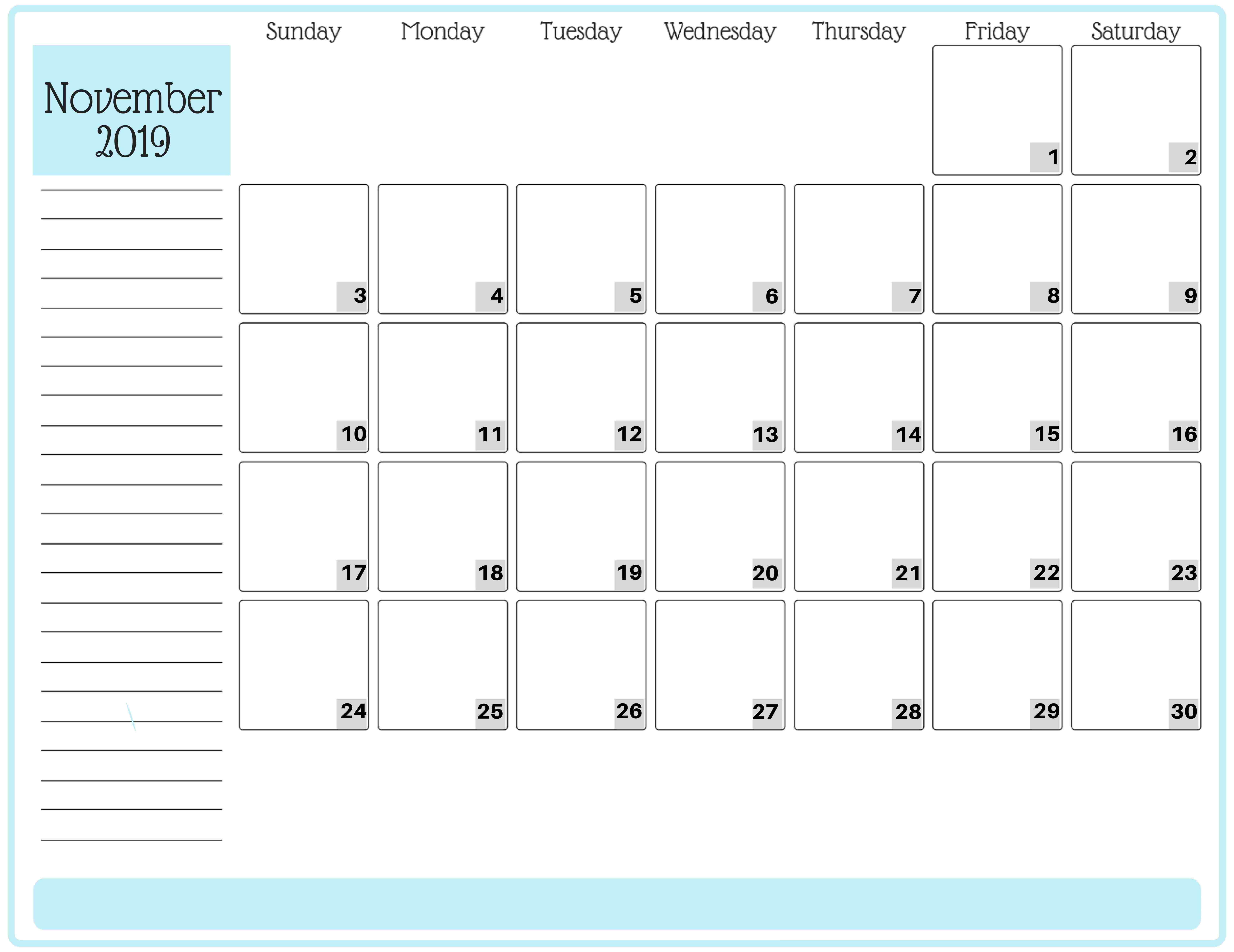 Blank Calendar November 2019 Pdf  2019 Calendars For throughout Blank Calendar With Lines