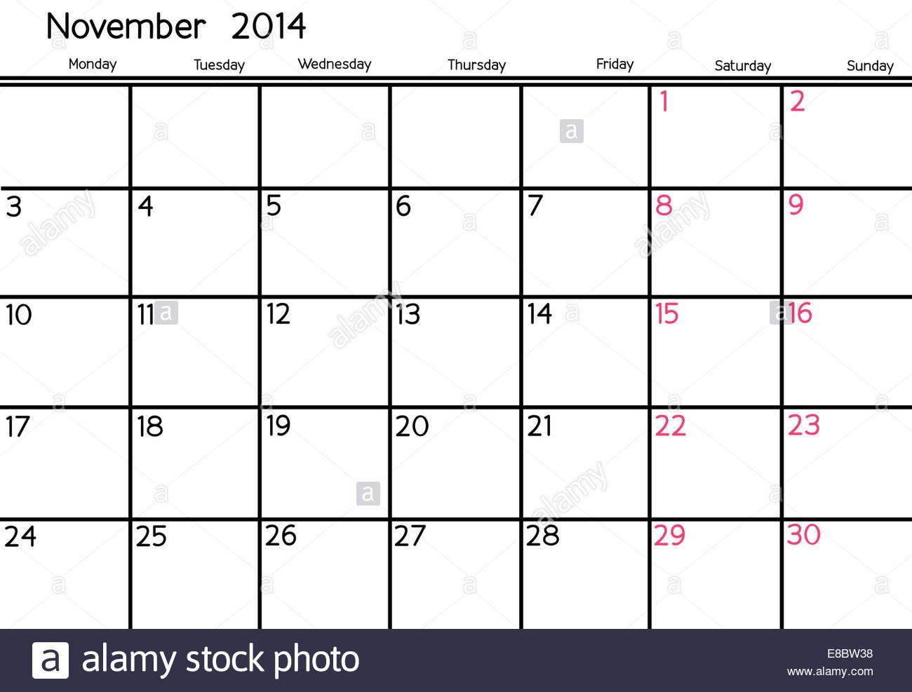 Blank Calendar Of November, 2014 Stock Photo: 74019884  Alamy within Blank Calendar 2014