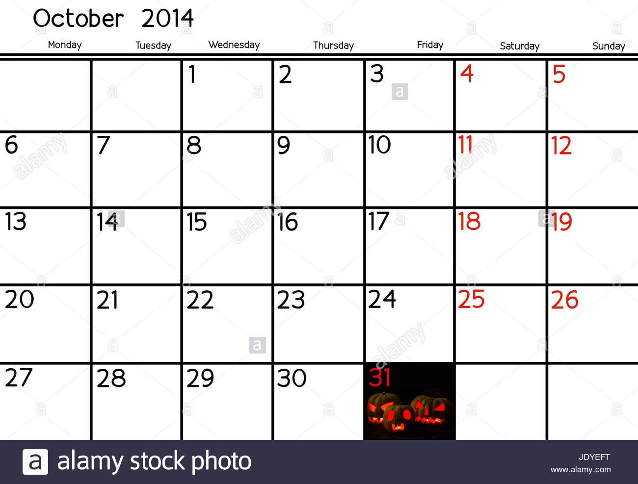 Blank Calendar Of October, 2014 Stock Photo: 146277596  Alamy inside Blank Calendar 2014