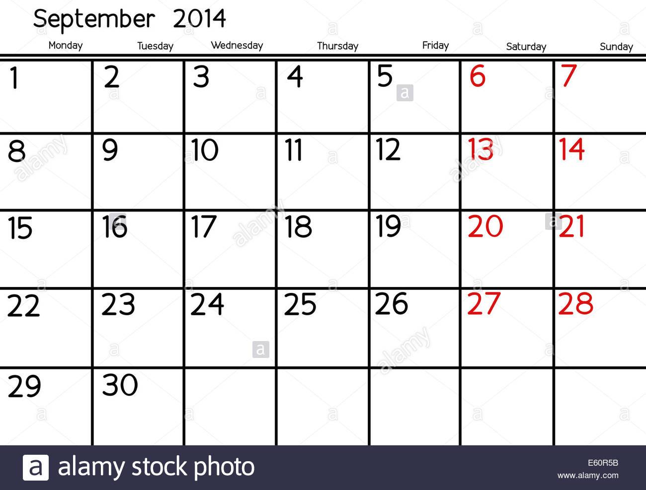 Blank Calendar Of September, 2014 Stock Photo: 72547591  Alamy with regard to Blank Calendar 2014