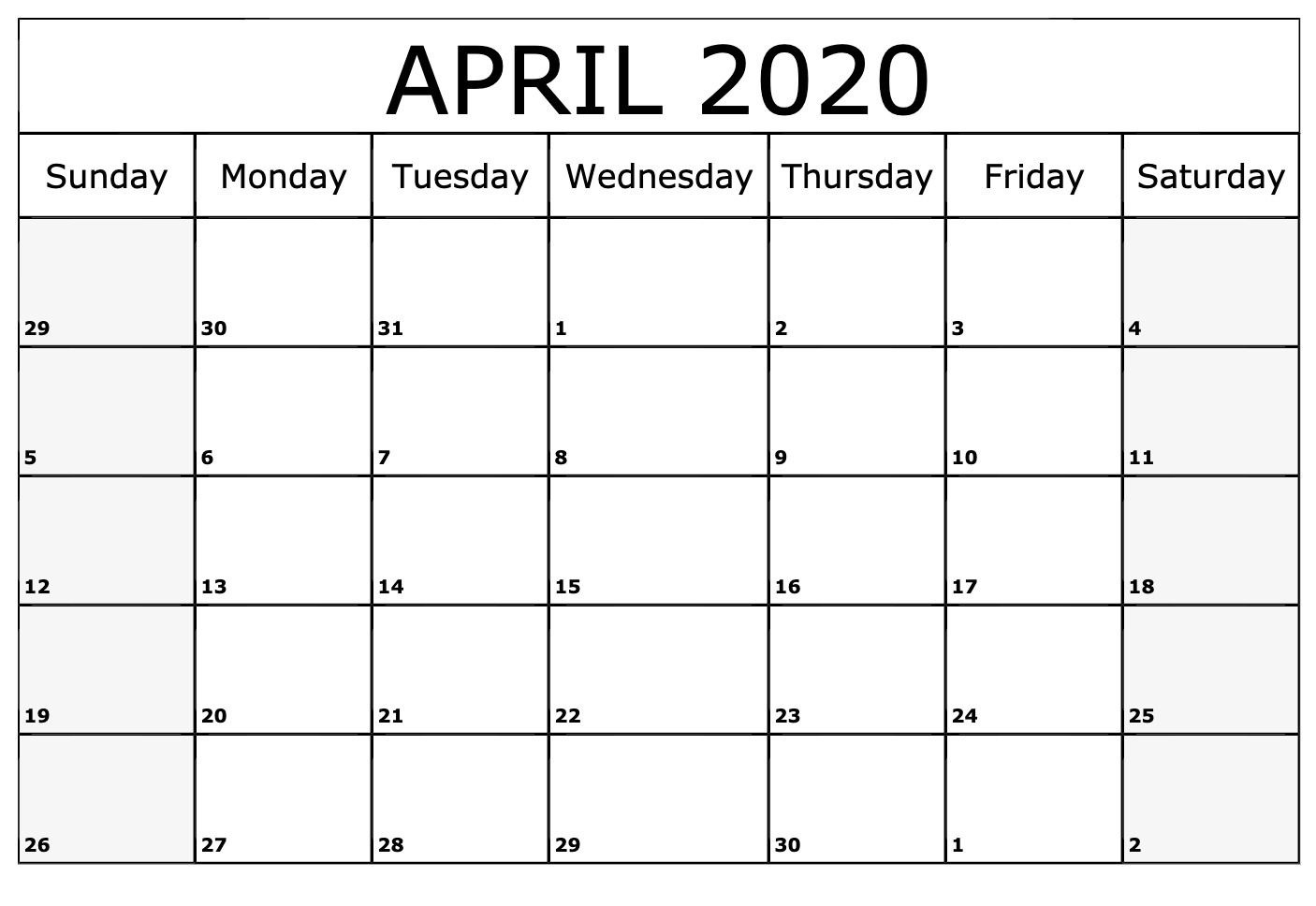 Blank Calendar Page For April 2020 | Free Printable Calendar regarding Free Printable April 2020 Calendar