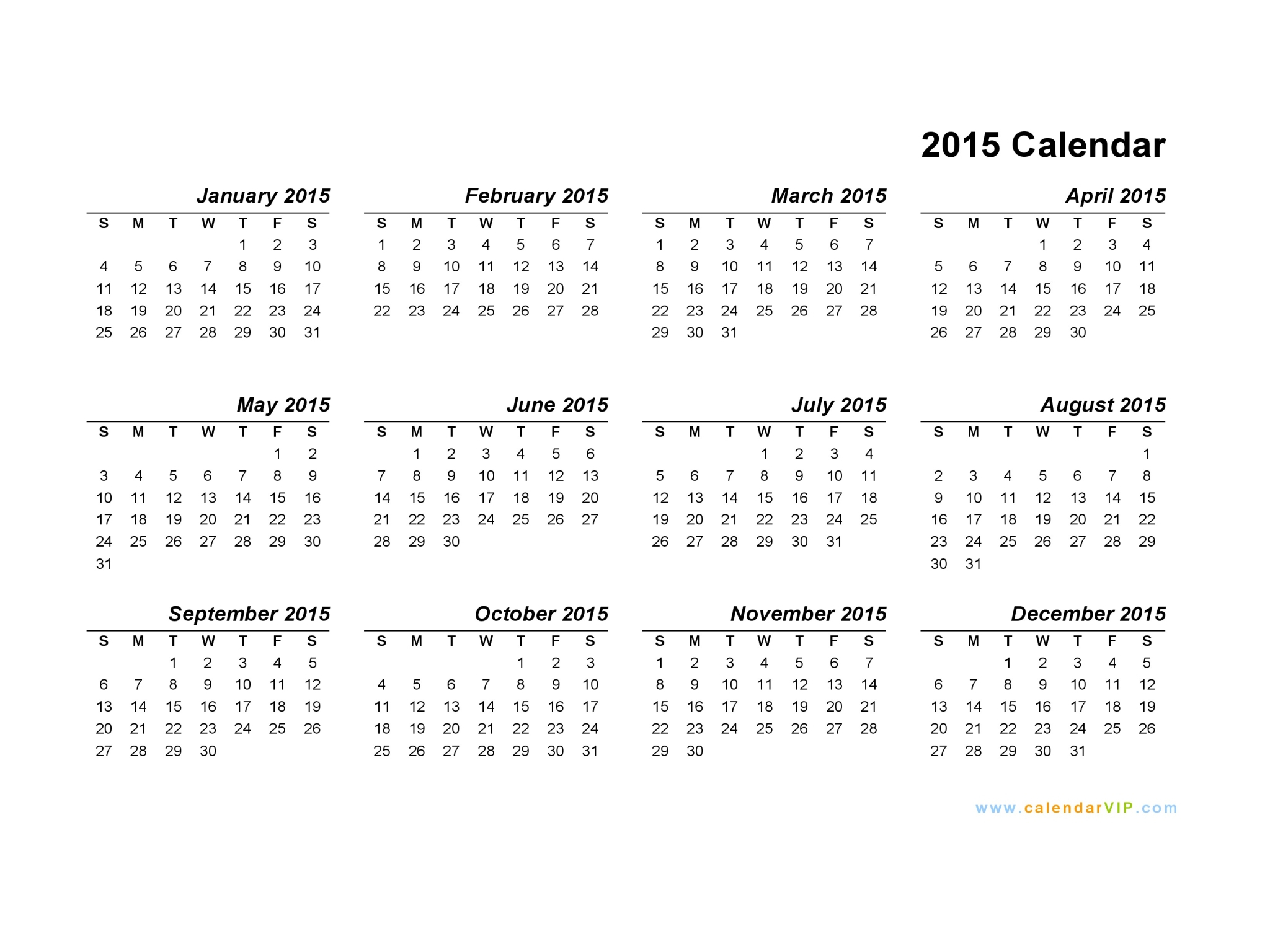 Blank Calendar Template 2015  Topa.mastersathletics.co regarding Printable Monthly Calendar 2015